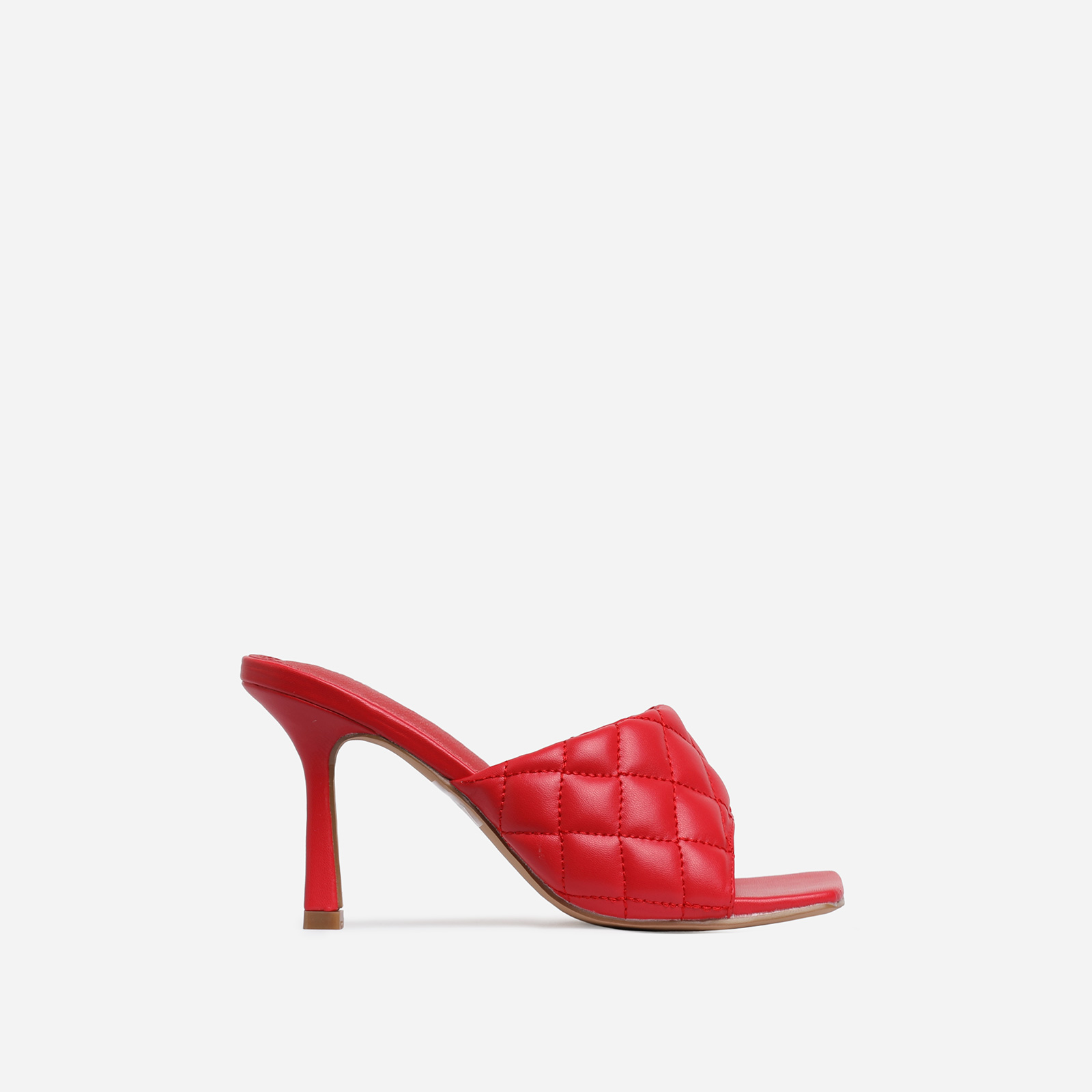 Tropez Square Toe Quilted Heel Mule In Red Faux Leather