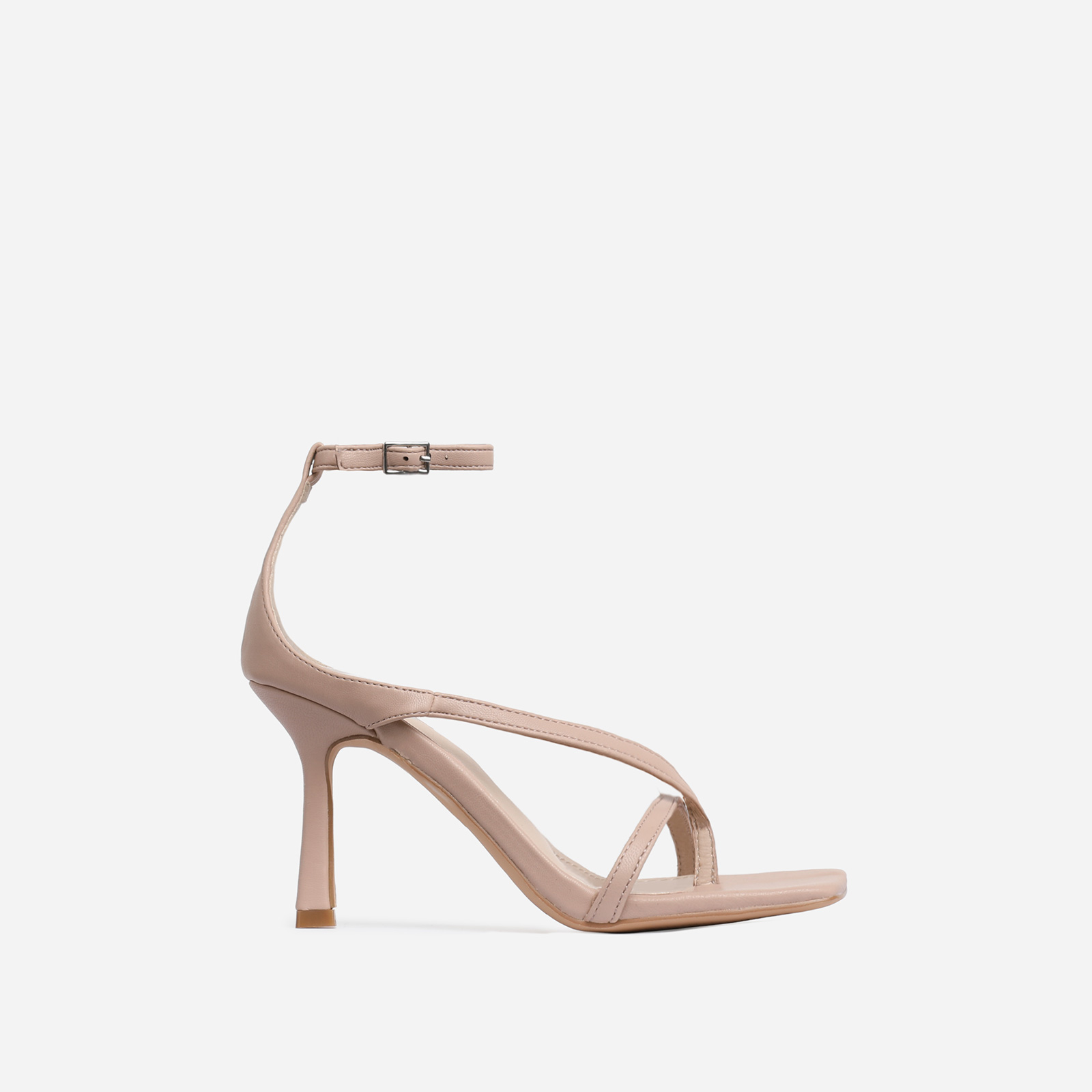 Eve Square Toe Strappy Heel In Nude Faux Leather