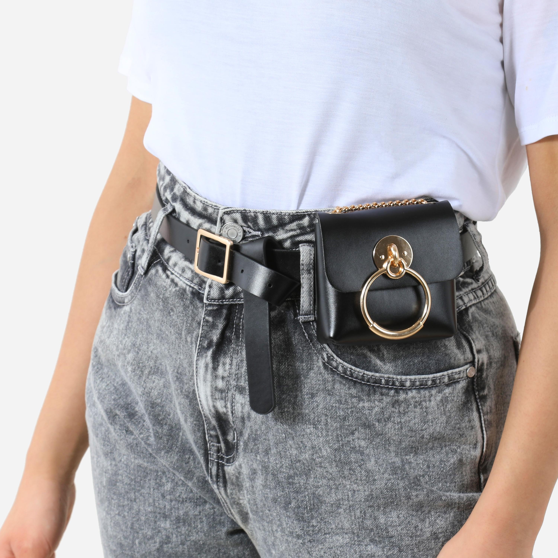 Hoop Detail Mini Bag In Black Faux Leather