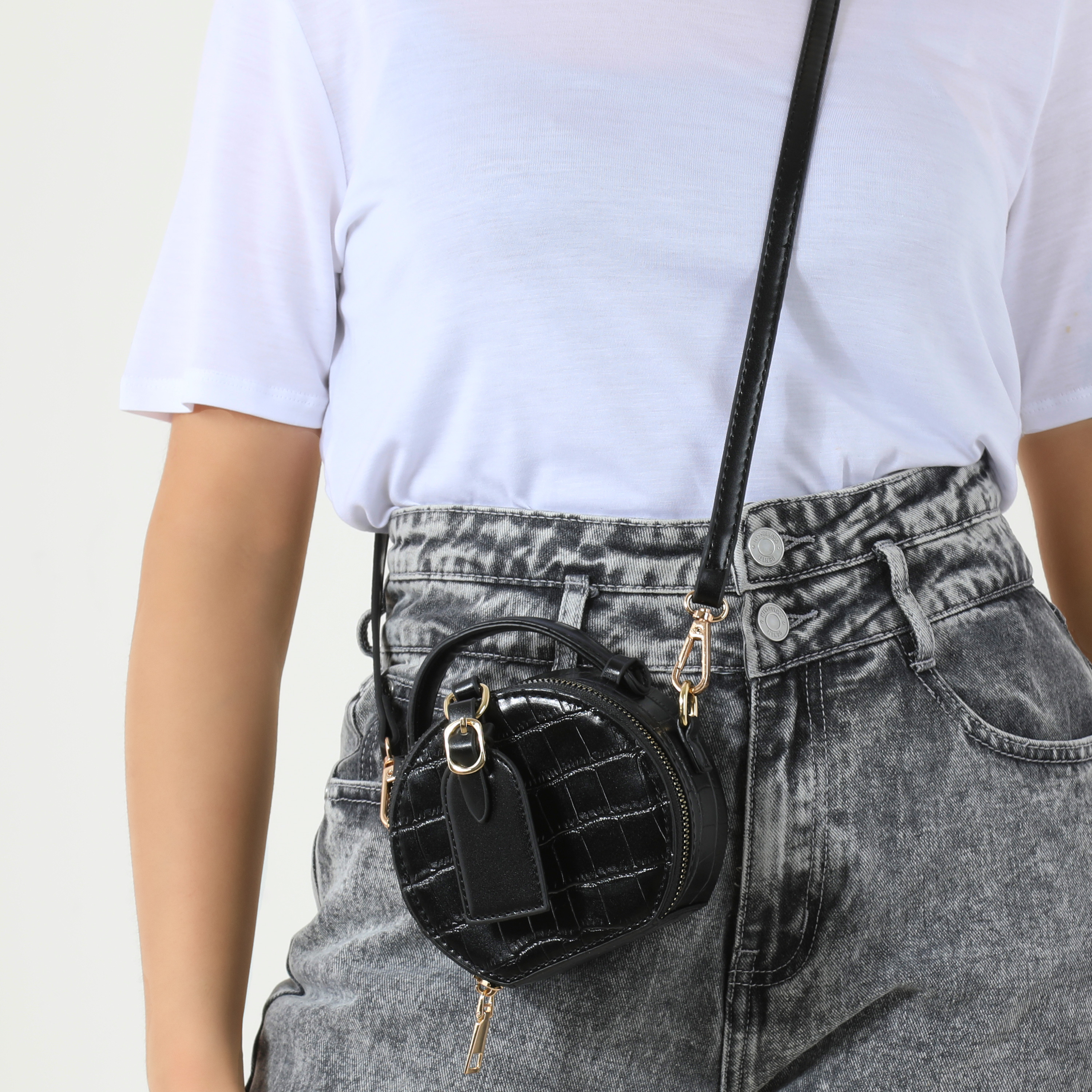 Buckle Detail Circle Cross Body Bag In Black Faux Leather