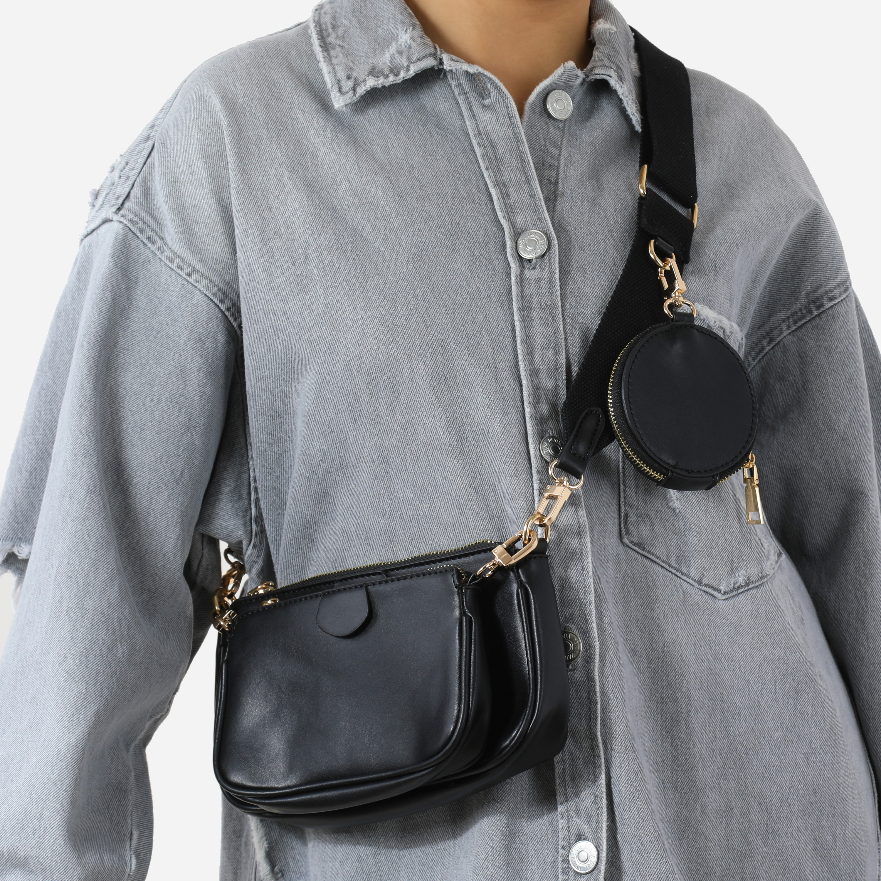 Chain & Purse Detail Cross Body Bag In Black Faux Leather