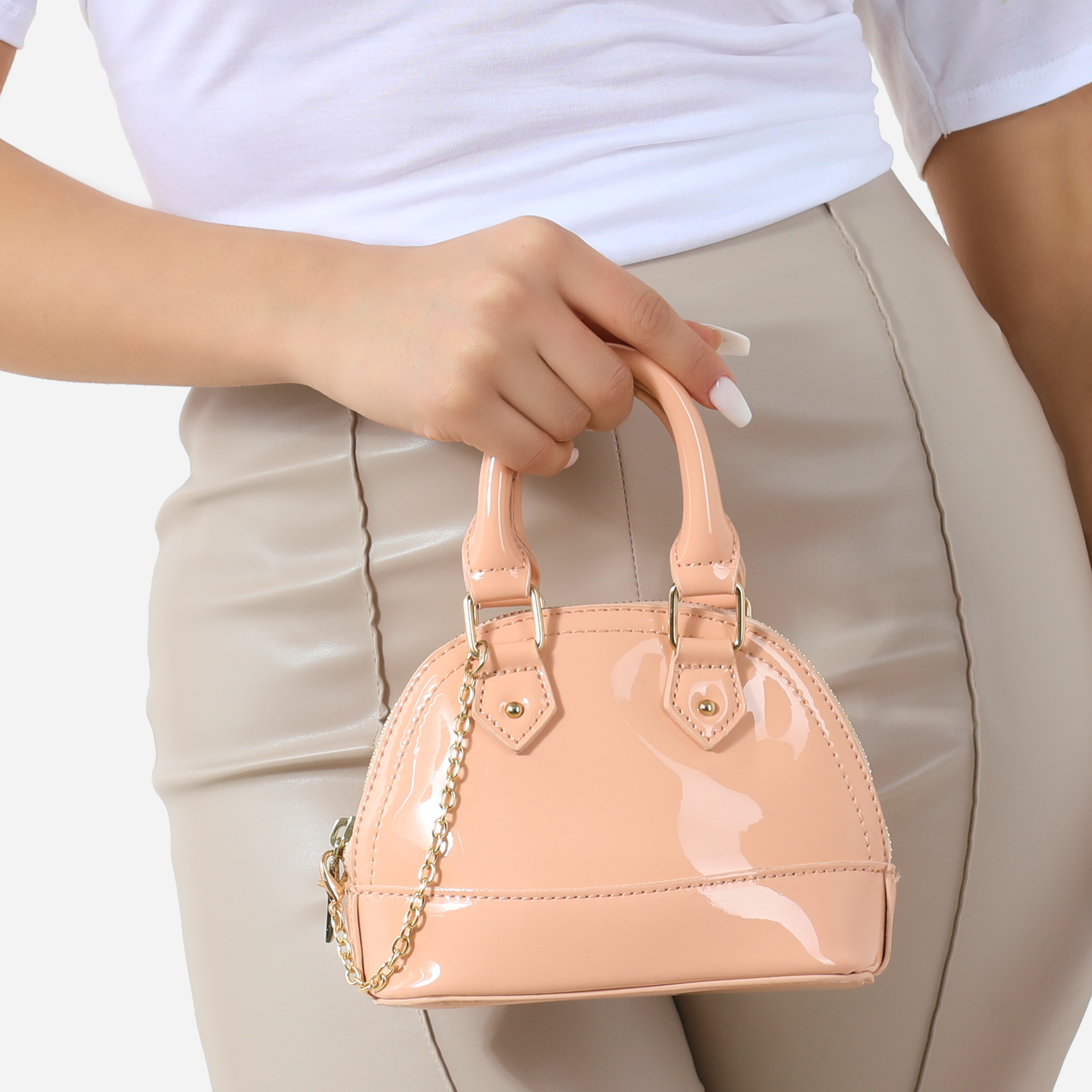 Chain Detail Grab Bag In Nude Patent