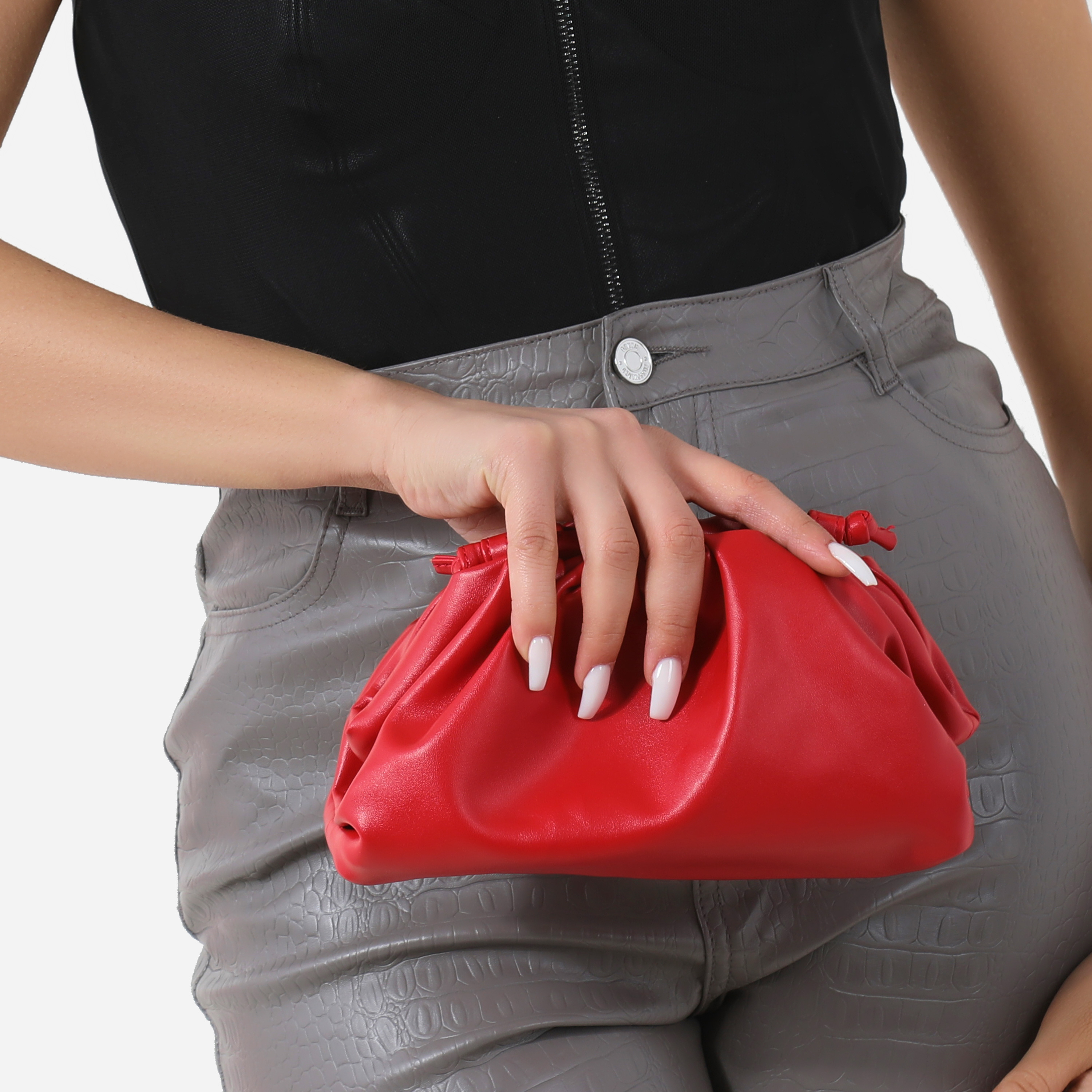 Gathered Detail Slouchy Clutch Bag In Red Faux Leather