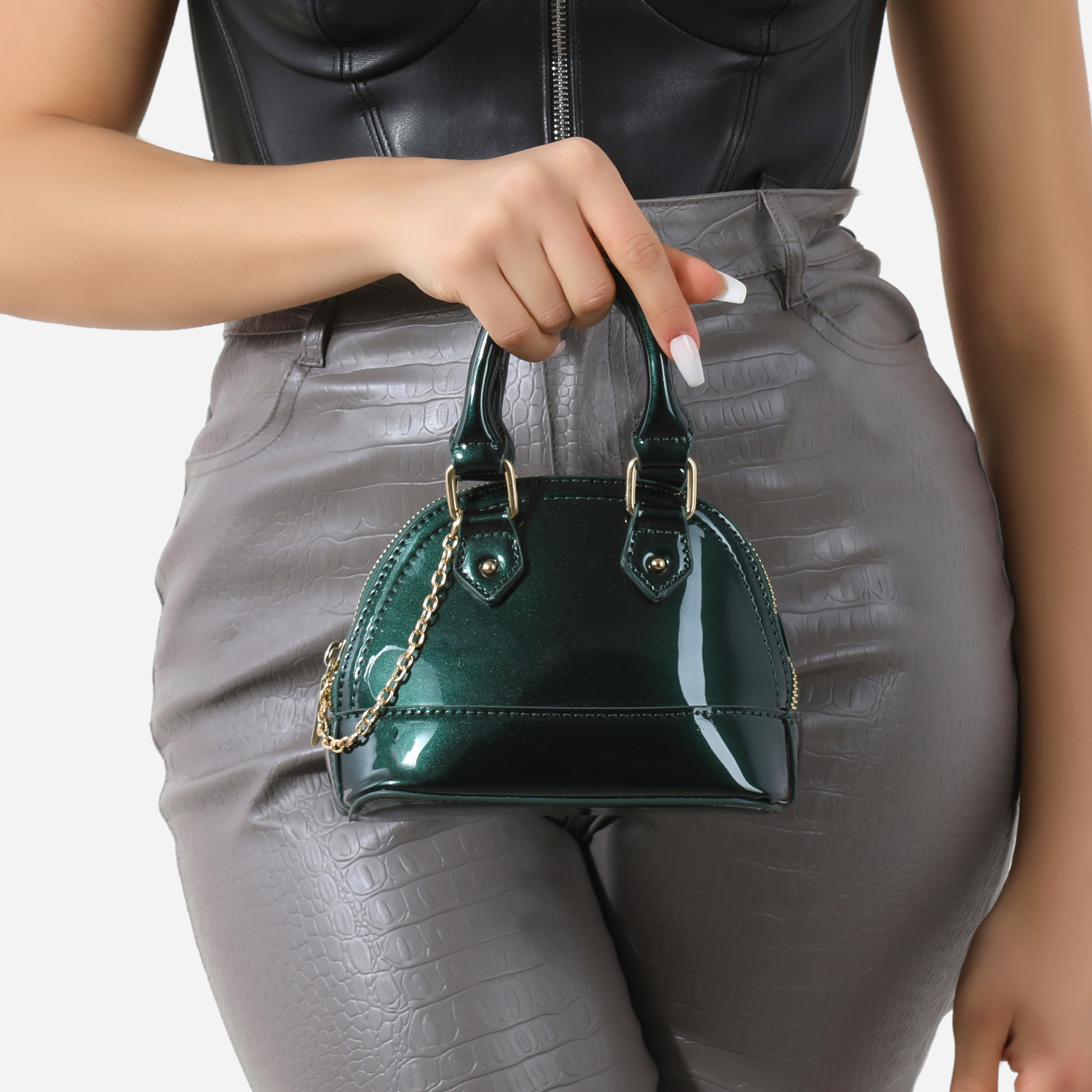 Chain Detail Grab Bag In Green Patent