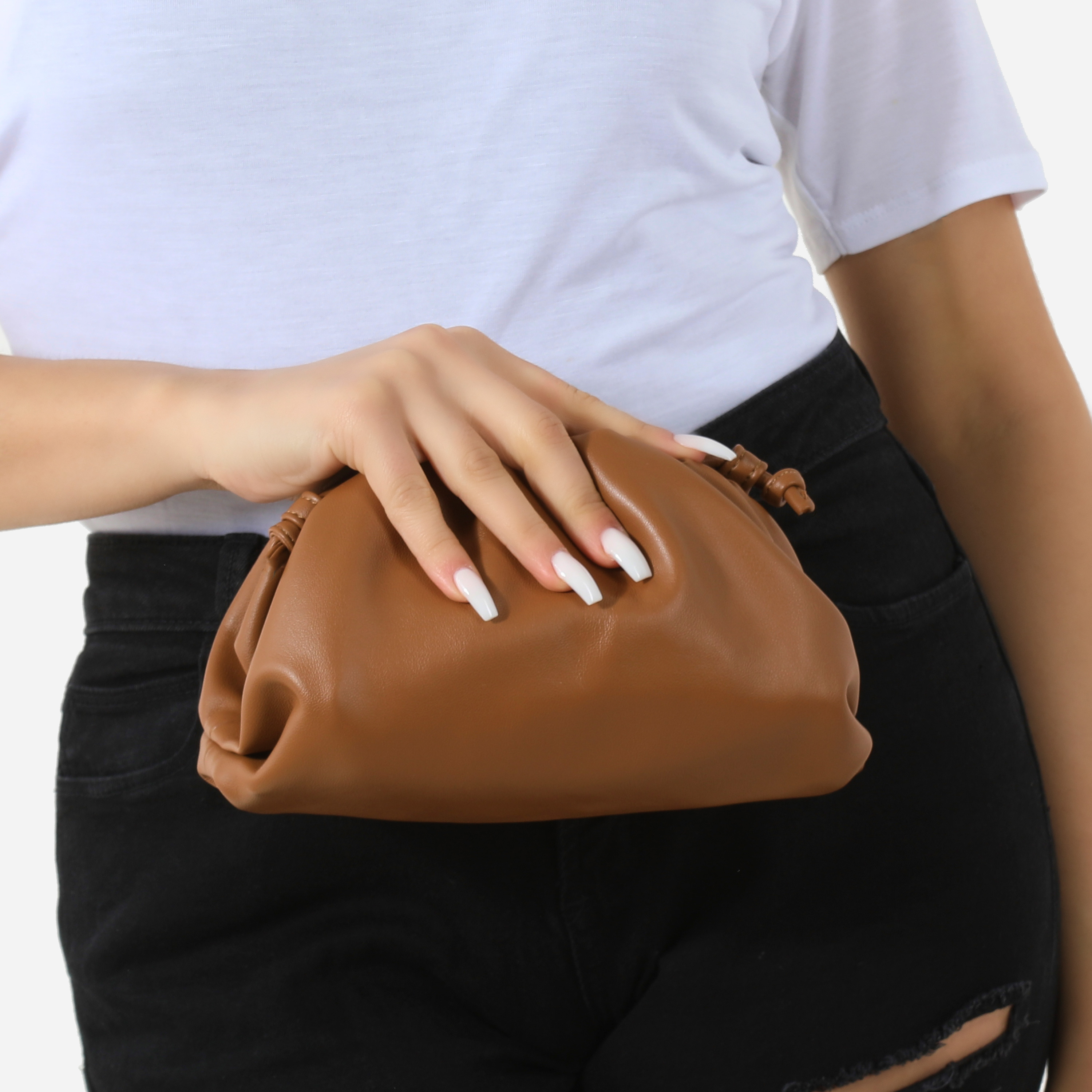Gathered Detail Slouchy Clutch Bag In Tan Faux Leather