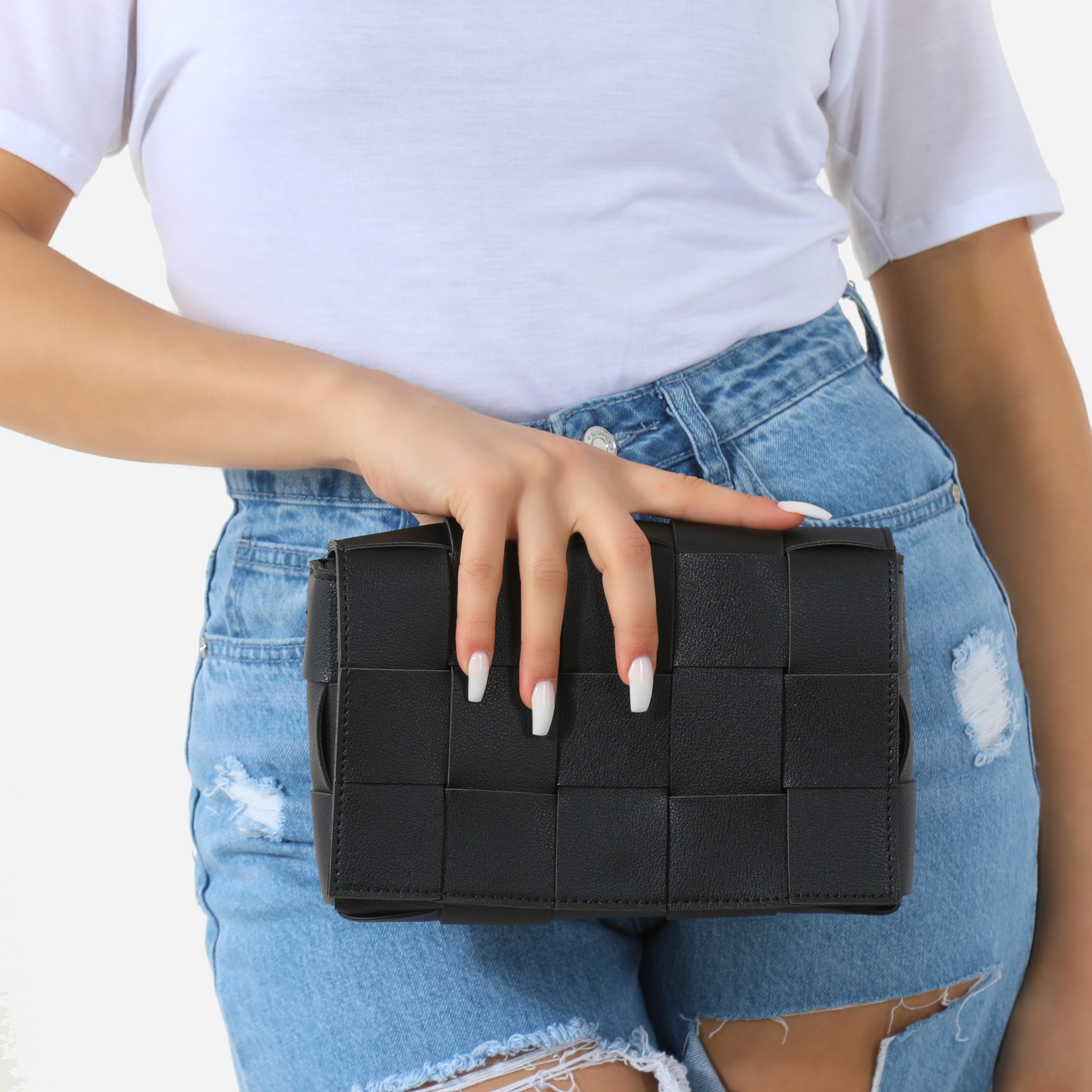 Woven Detail Square Clutch Bag In Black Faux Leather
