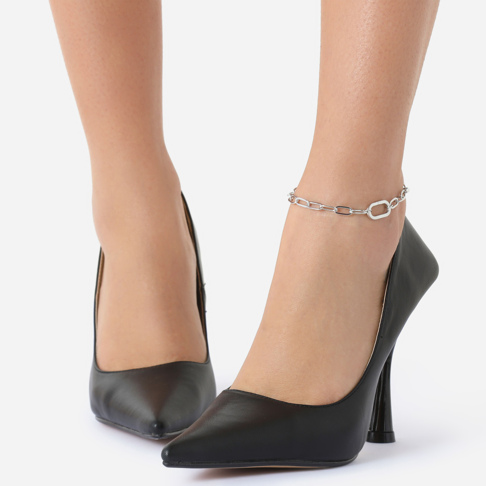 Carabine Detail Chain Anklet In Silver