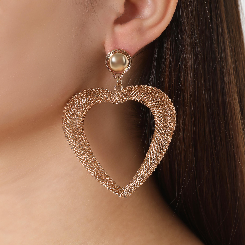 Oversized Heart Drop Earrings In Gold