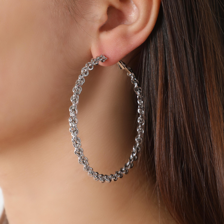 Thin Twisted Hoop Earrings In Silver