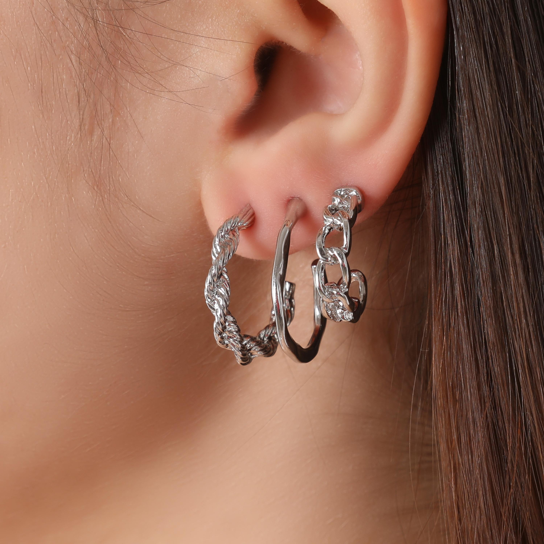 Multi Pack Twisted Hoop Earrings In Silver