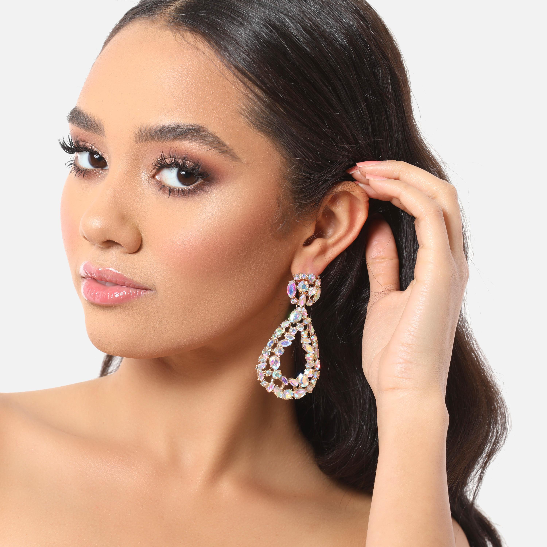 Gemstone Drop Earrings In Gold