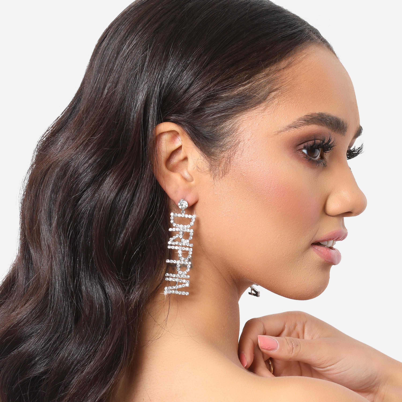 Drippin Slogan Diamante Drop Earrings In Silver