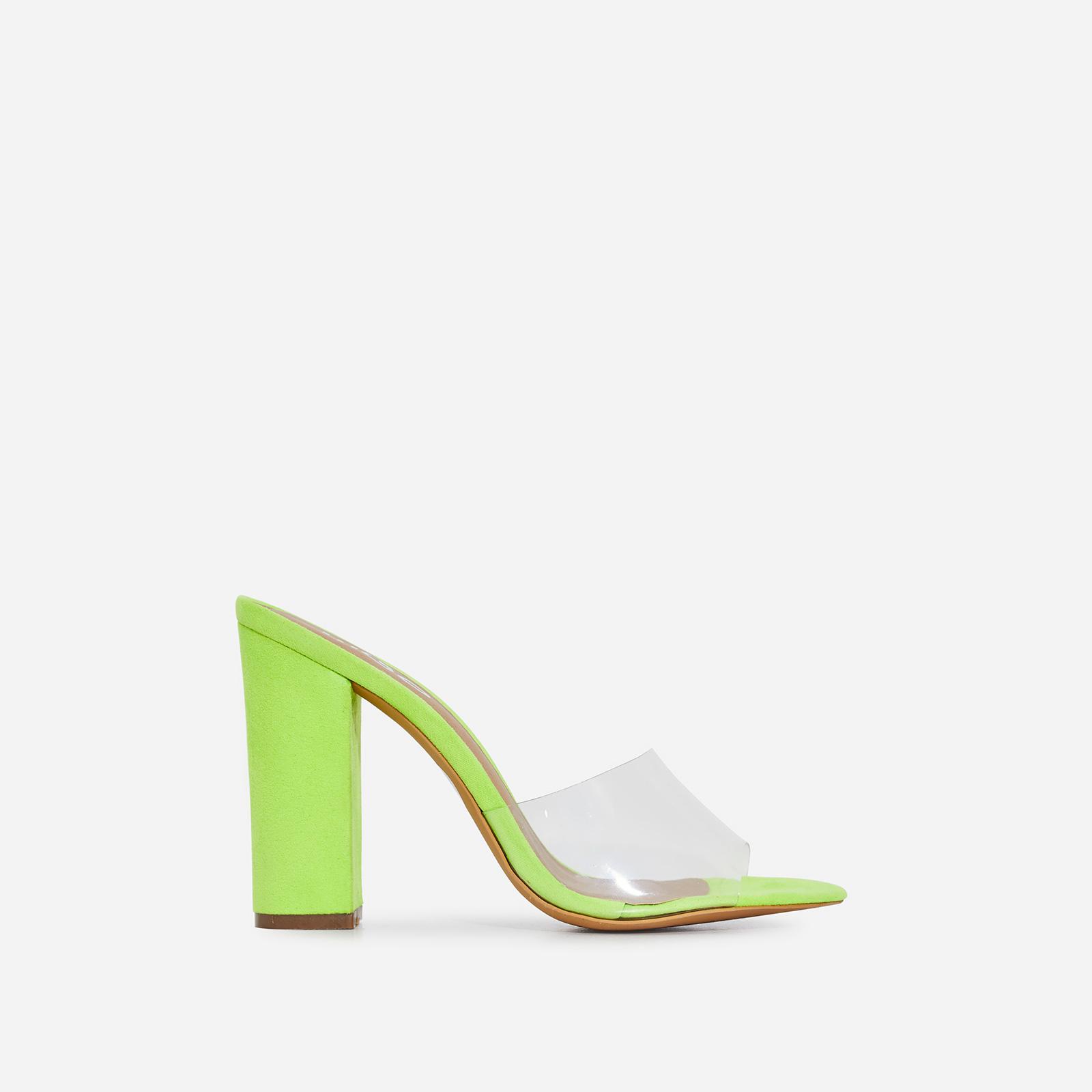 Kalia Peep Toe Perspex Block Heel In Lime Green Faux Suede