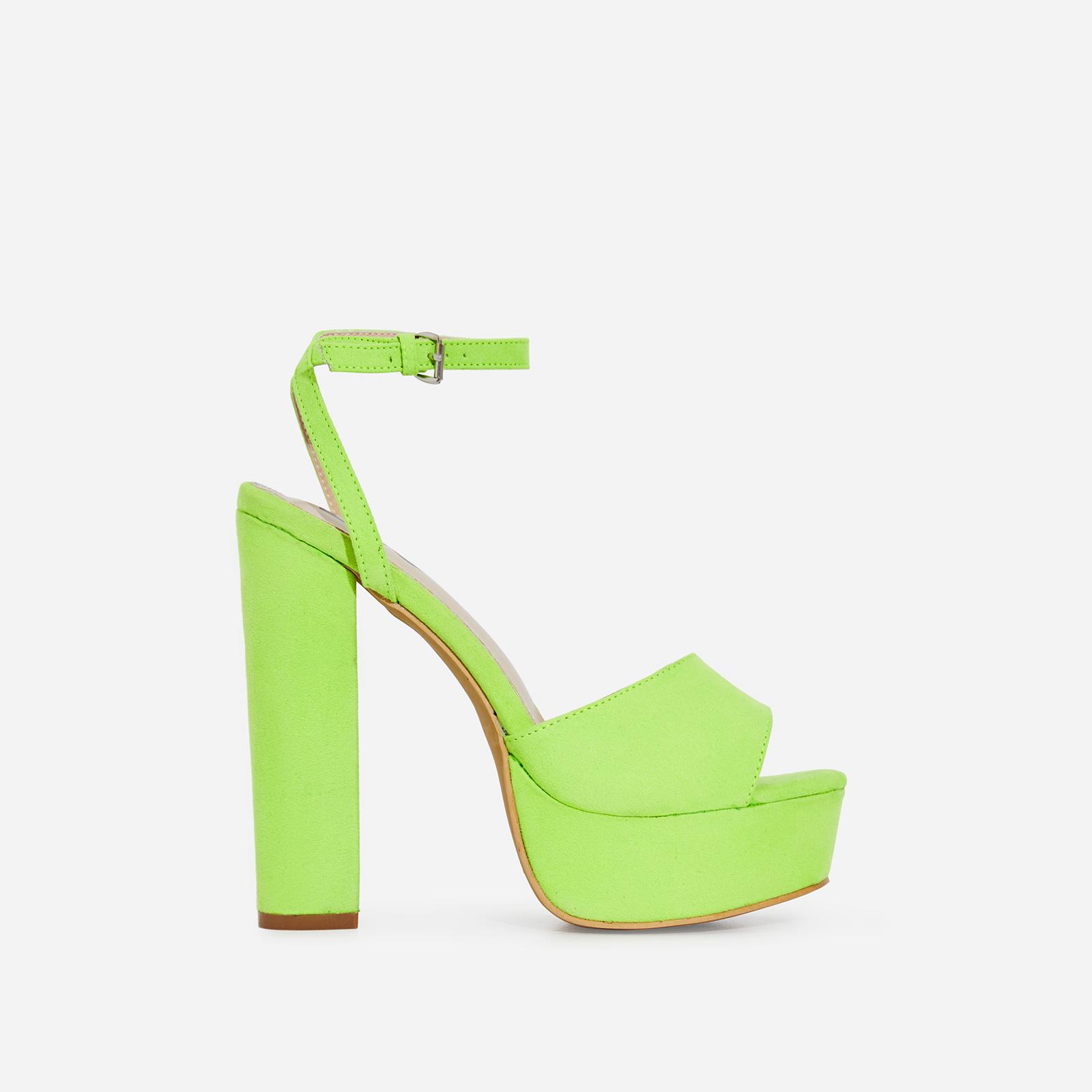 Kaci Platform Block Heel In Lime Green Faux Suede