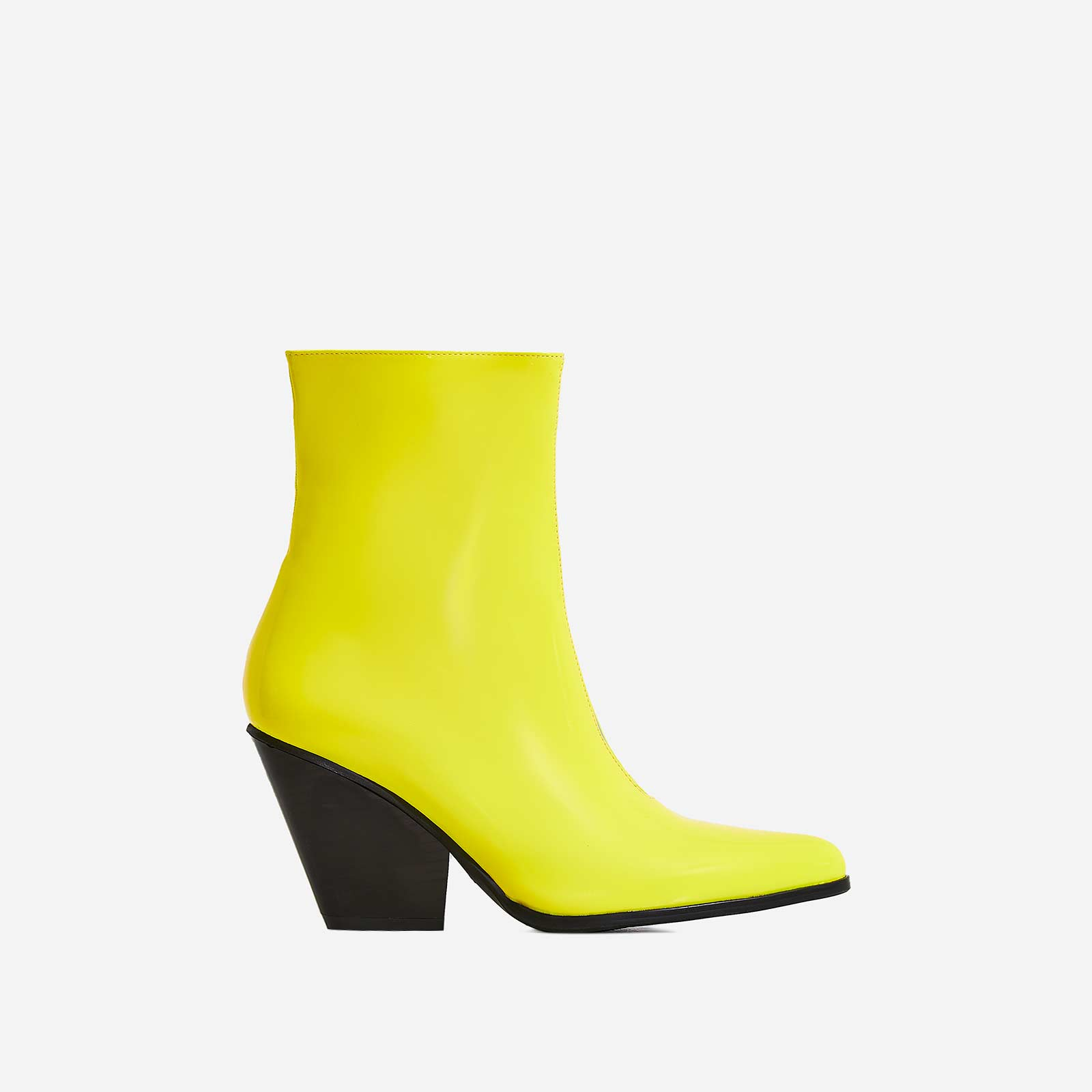 Alba Western Ankle Boot In Yellow Patent