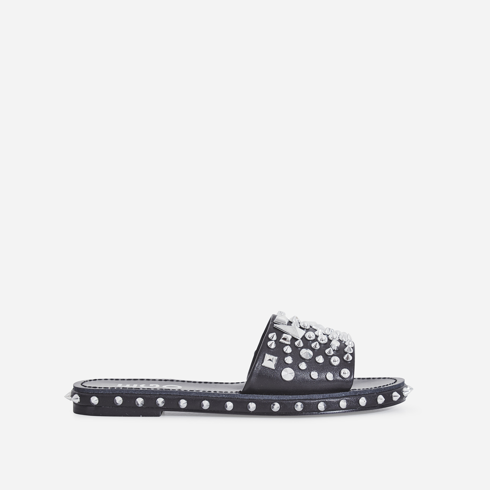 7cb89dad8522 Toni Studded Detail Slider In Black Faux Leather