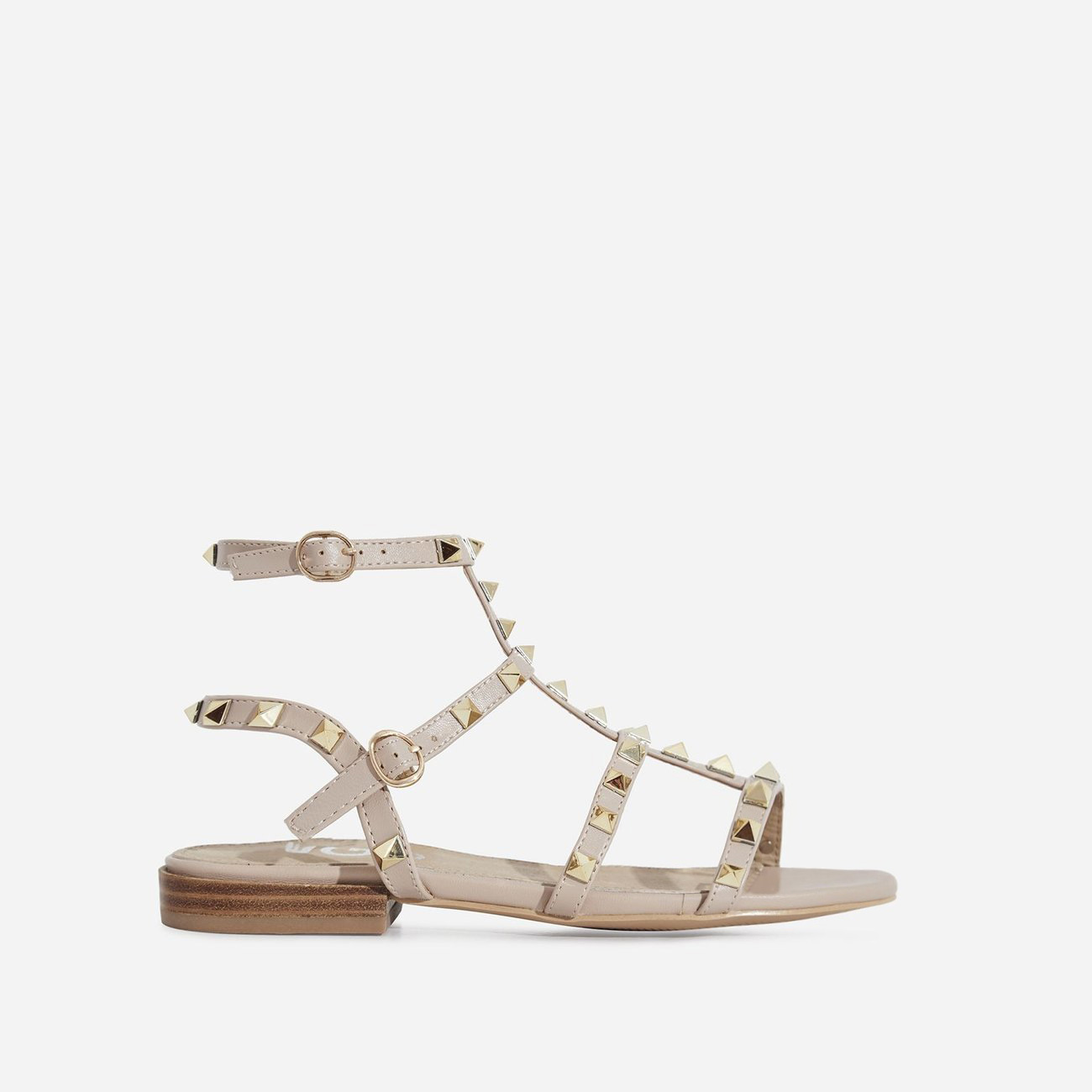 Paisley Gold Studded Detail Gladiator Sandal In Nude Faux Leather