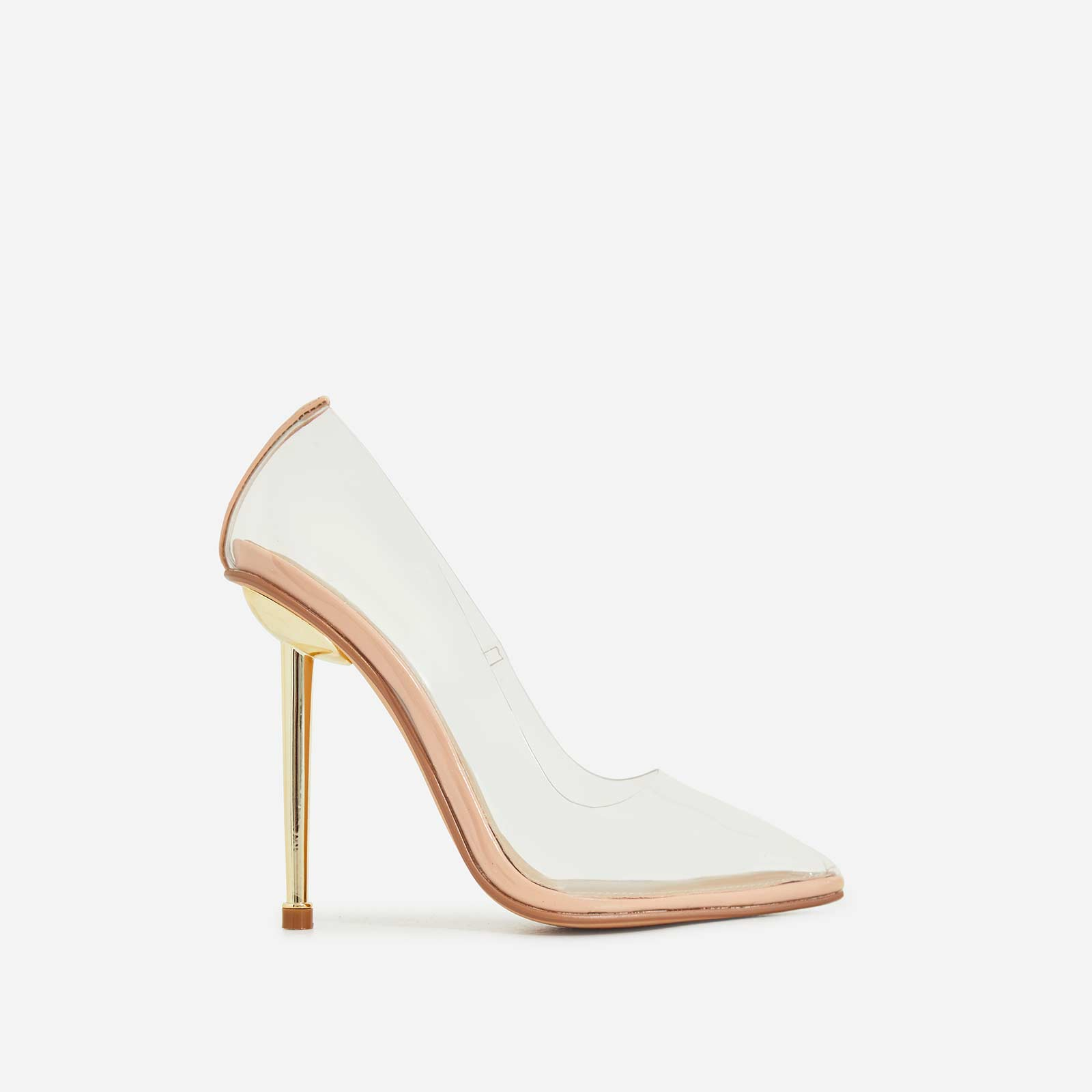 Action Perspex Court Heel In Nude Patent