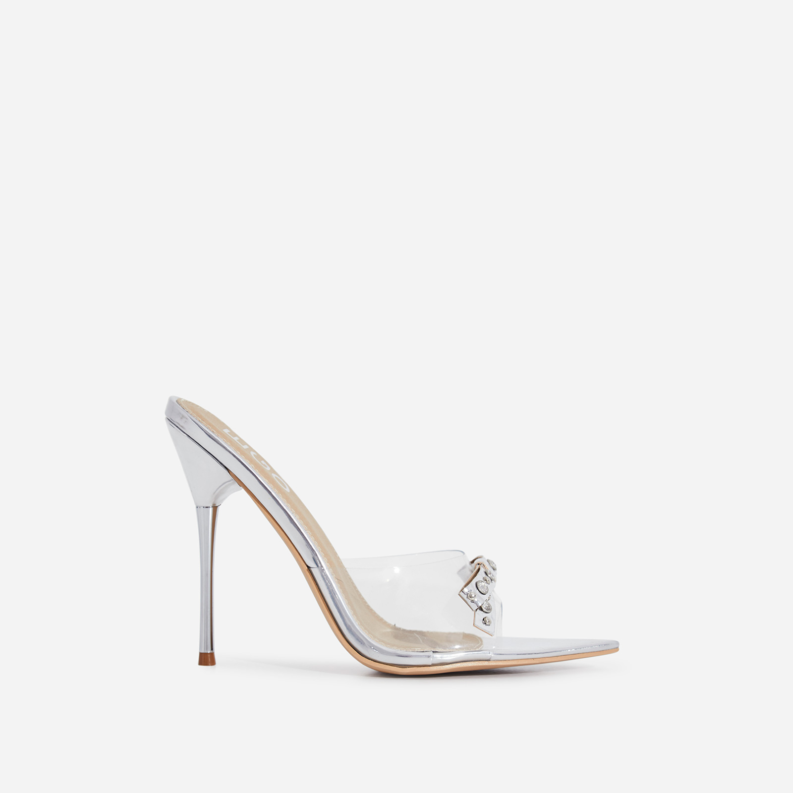 Gabb Studded Bow Detail Perspex Peep Toe Heel Mule In Silver Patent