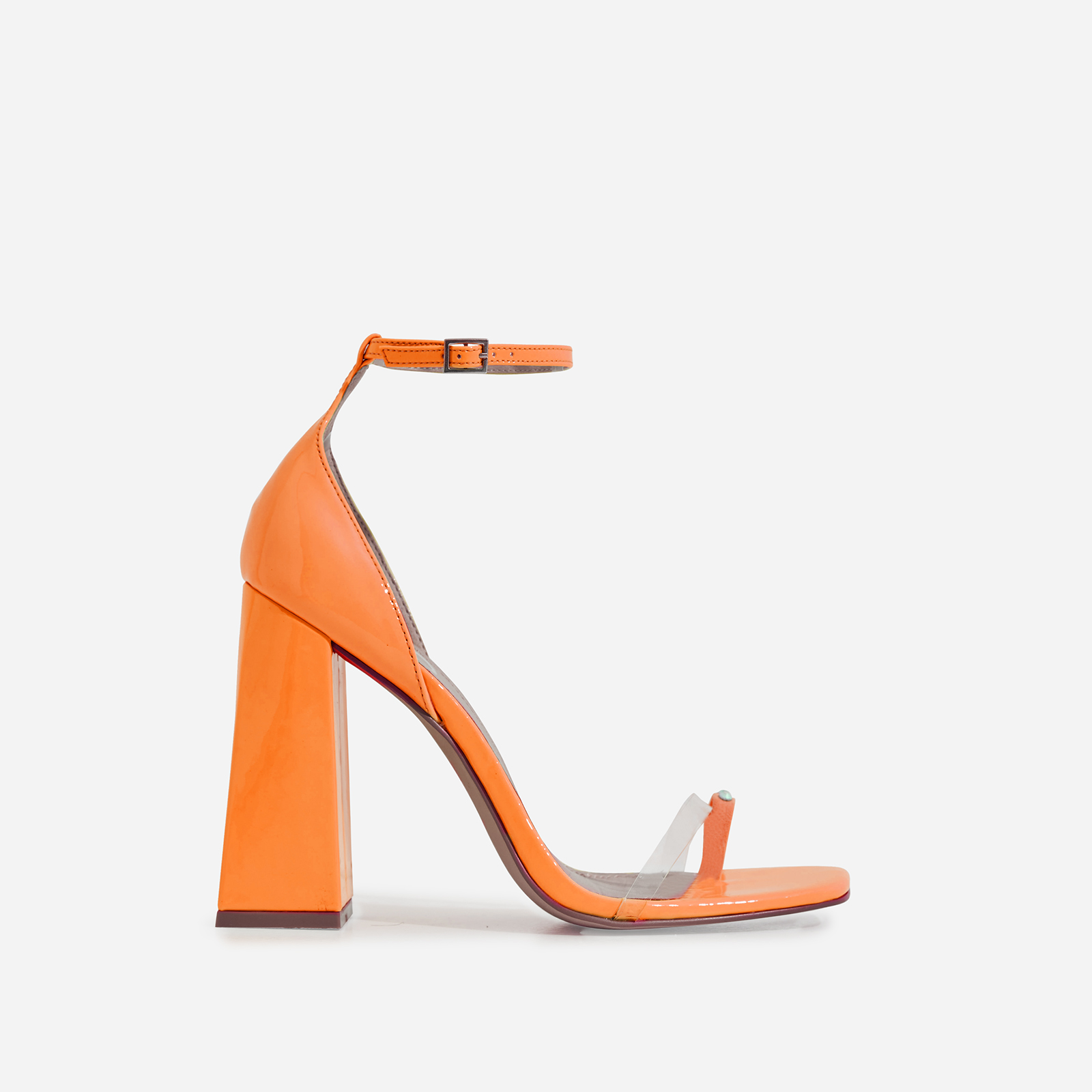 Perch Diamante Detail Strap Square Toe Perspex Flared Block Heel In Orange Patent