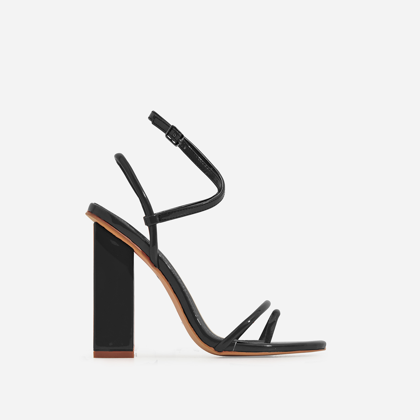 Bello-Bee Toe Strap Block Heel In Black Patent