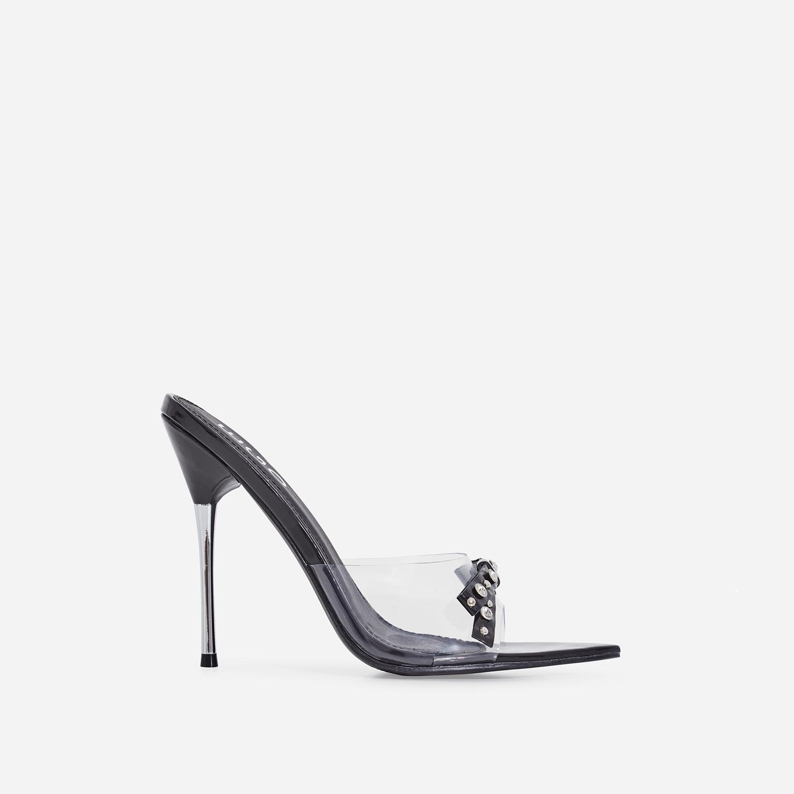 Gabb Studded Bow Detail Perspex Peep Toe Heel Mule In Black Patent