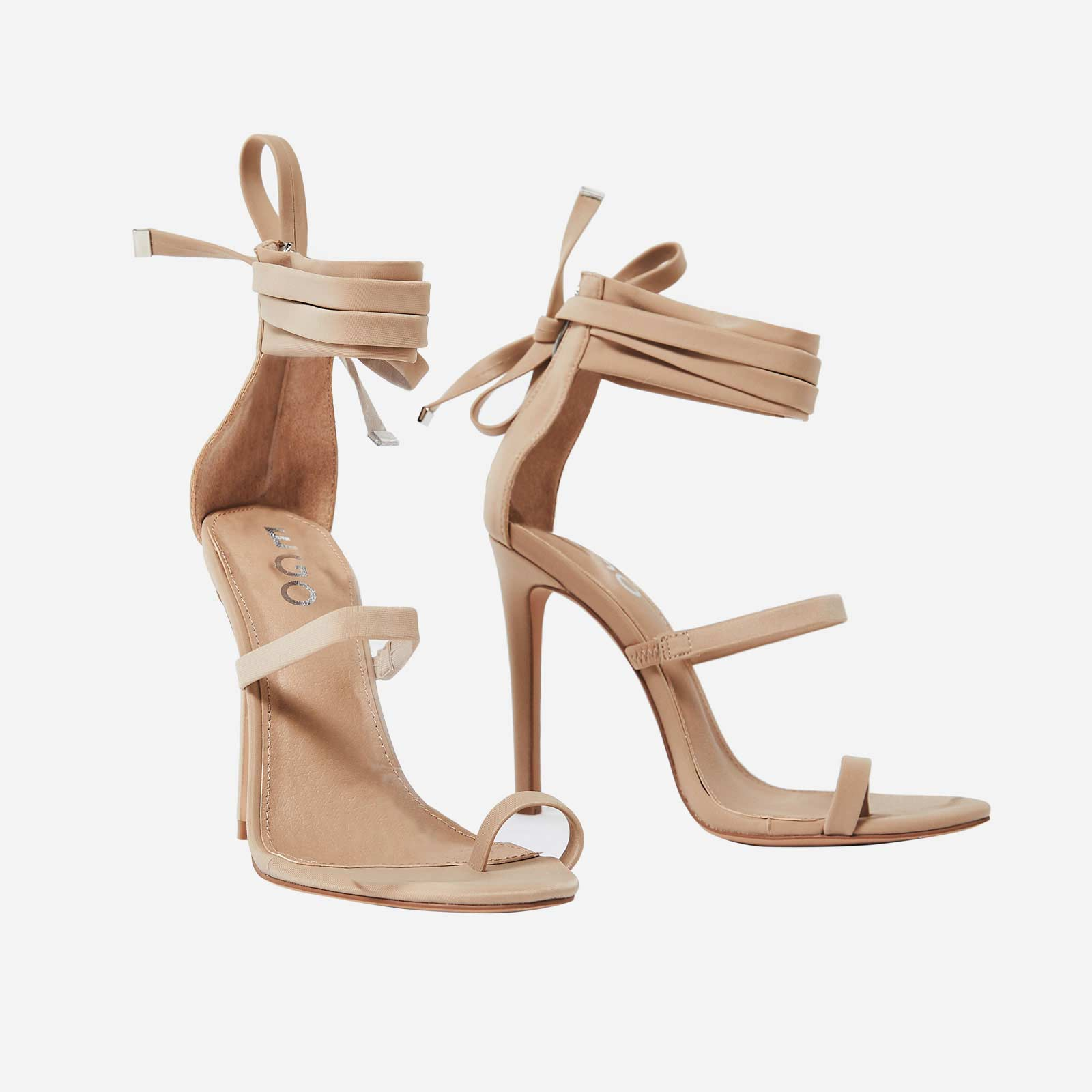 Sandie Lace Up Toe Strap Heel In Nude Lycra