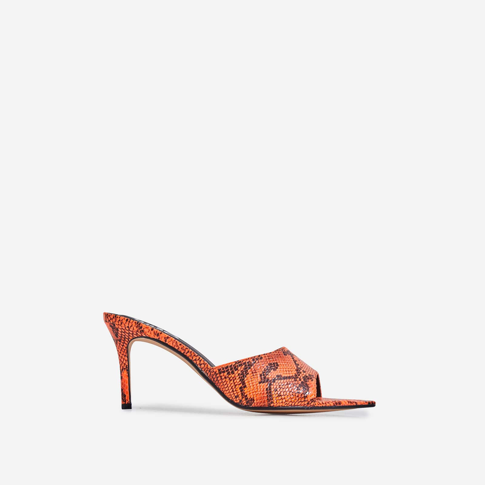 Sansa Pointed Peep Toe Heel Mule In Neon Orange Snake Print Faux Leather