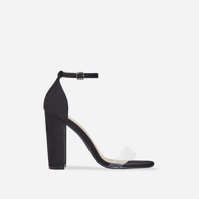 Sara Perspex Block Heel In Black Faux Suede