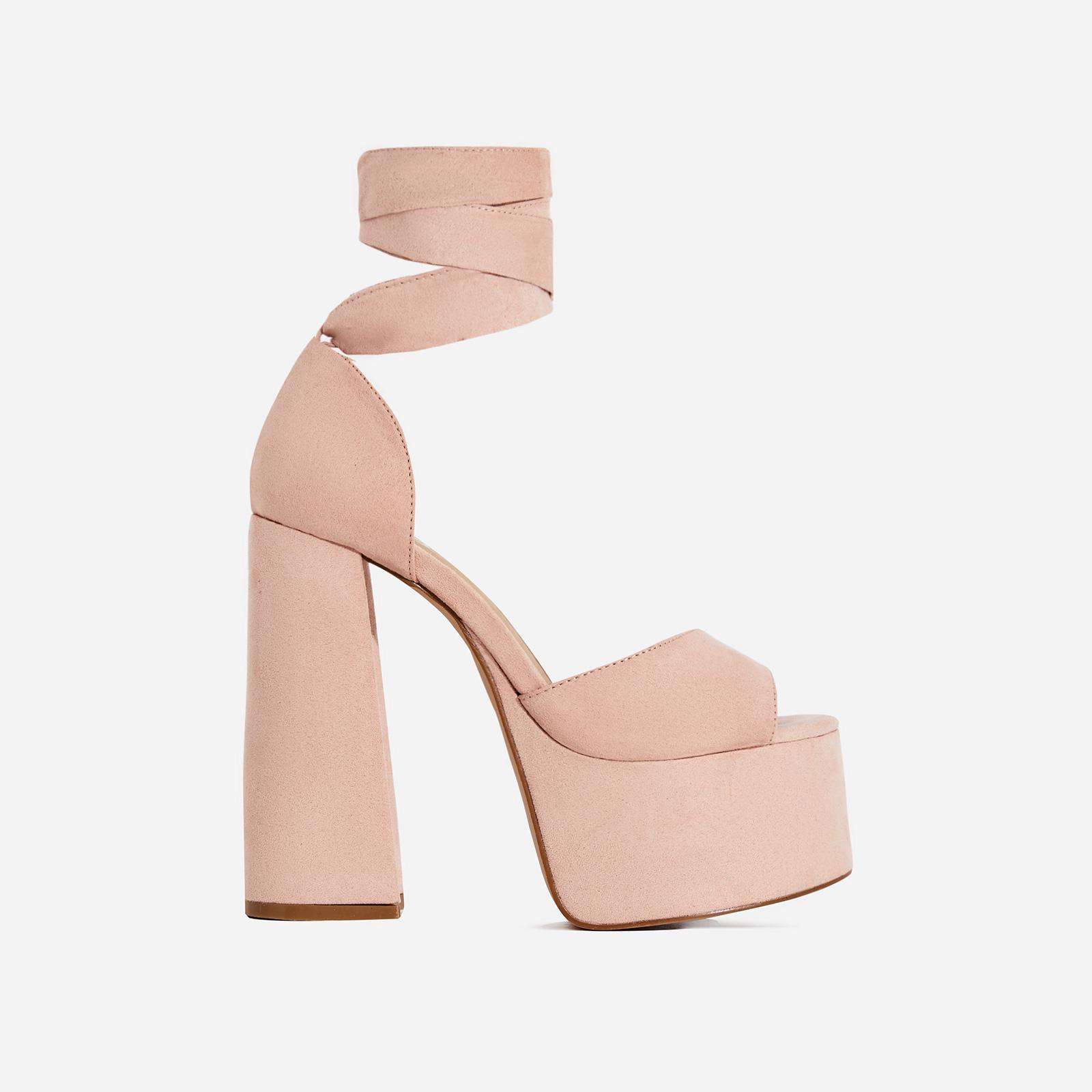 Sarah Lace Up Platform Heel In Blush Pink Faux Suede