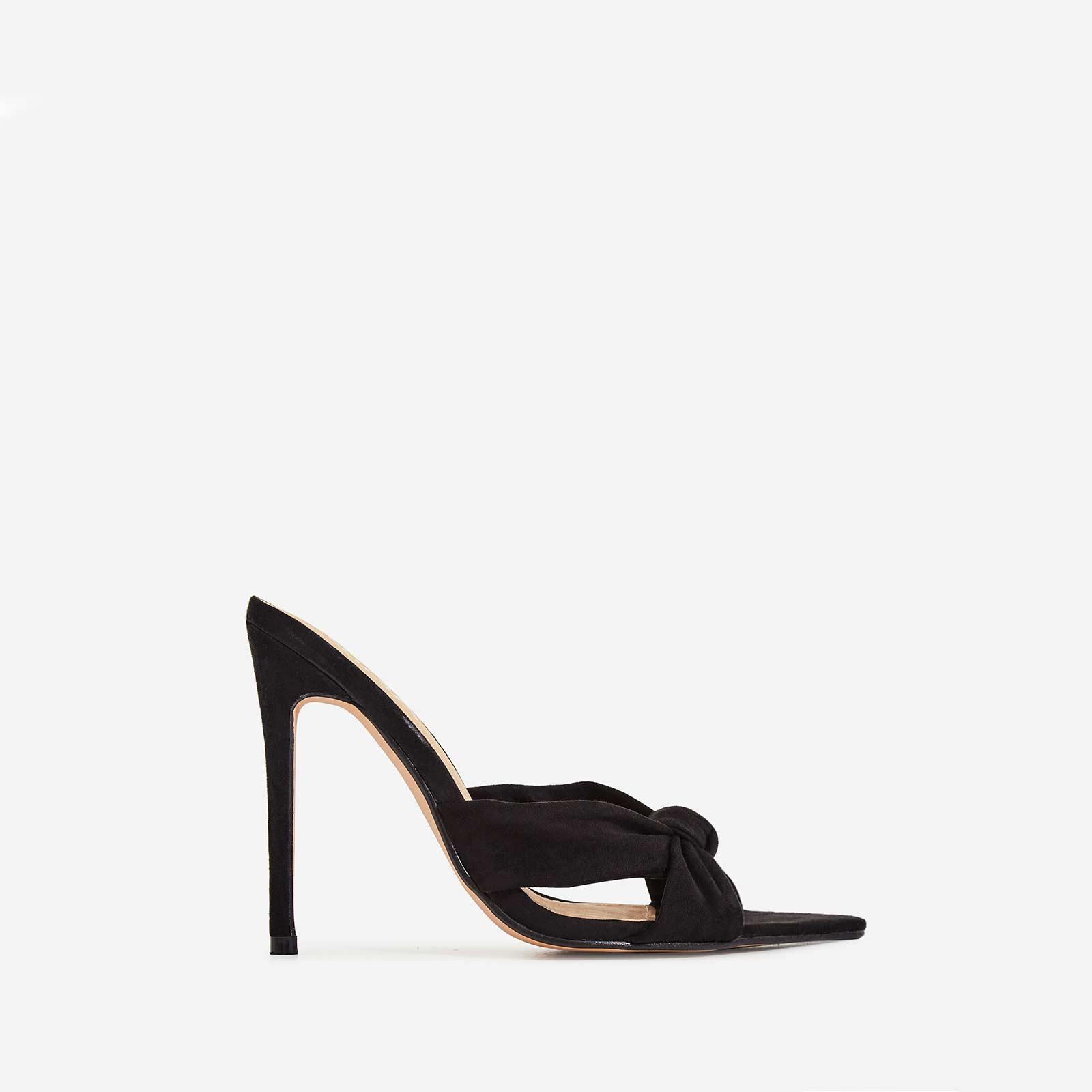 Saska Knot Detail Pointed Peep Toe Heel Mule In Black Faux Suede