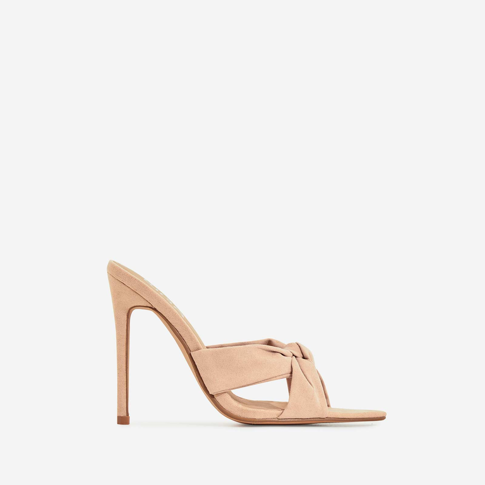 Saska Knot Detail Pointed Peep Toe Heel Mule In Nude Faux Suede