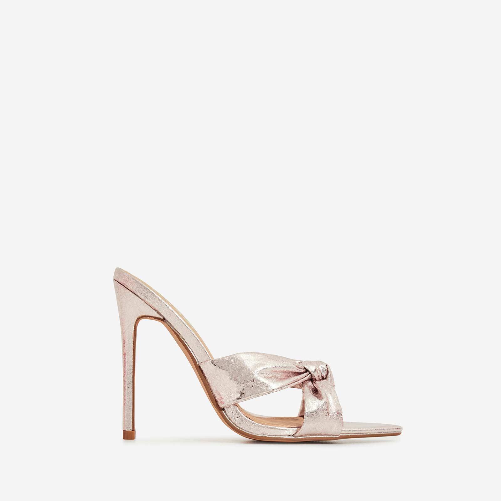 Saska Knot Detail Pointed Peep Toe Heel Mule In Rose Gold Faux Leather