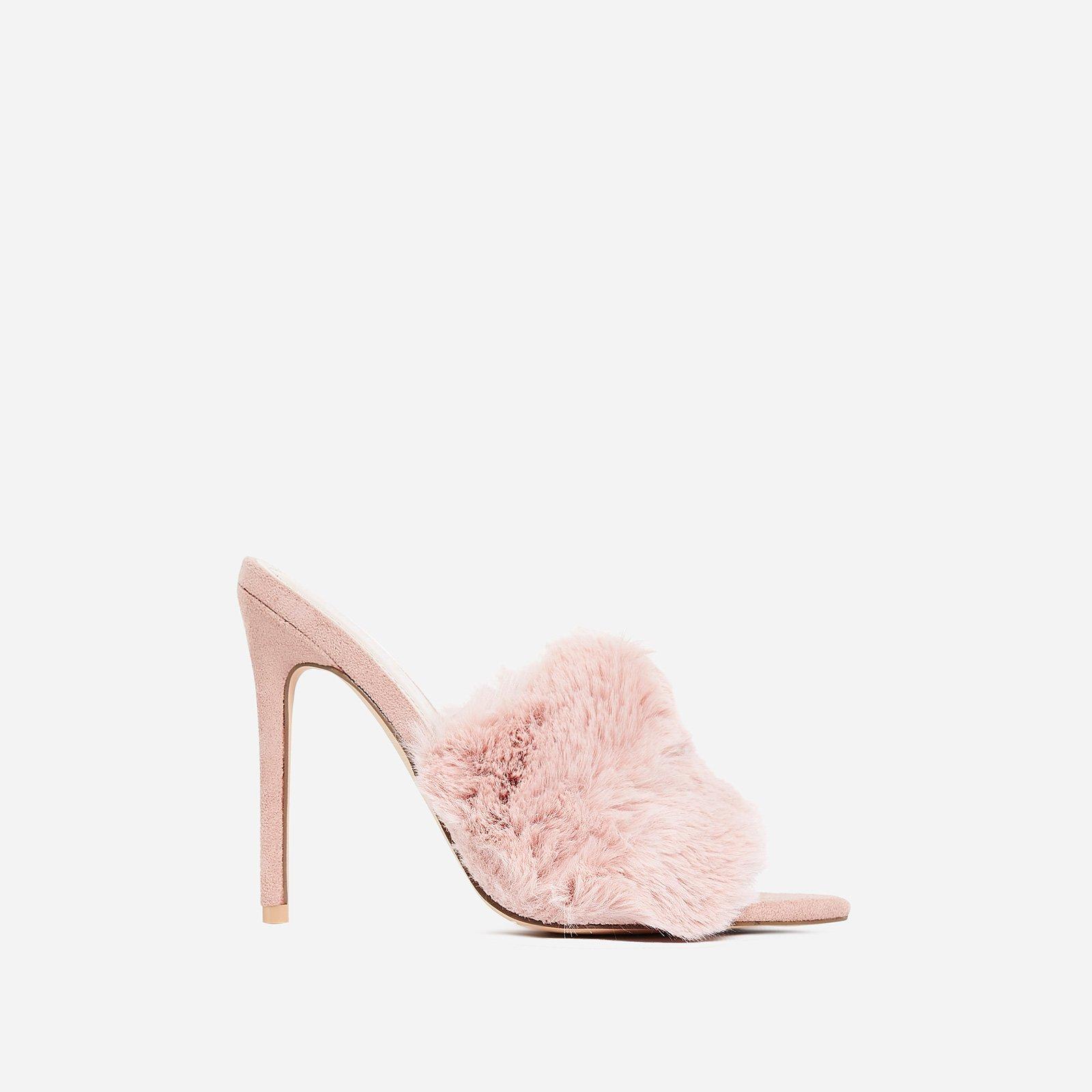 Savage Faux Fur Heel Mule In Pink Faux Suede