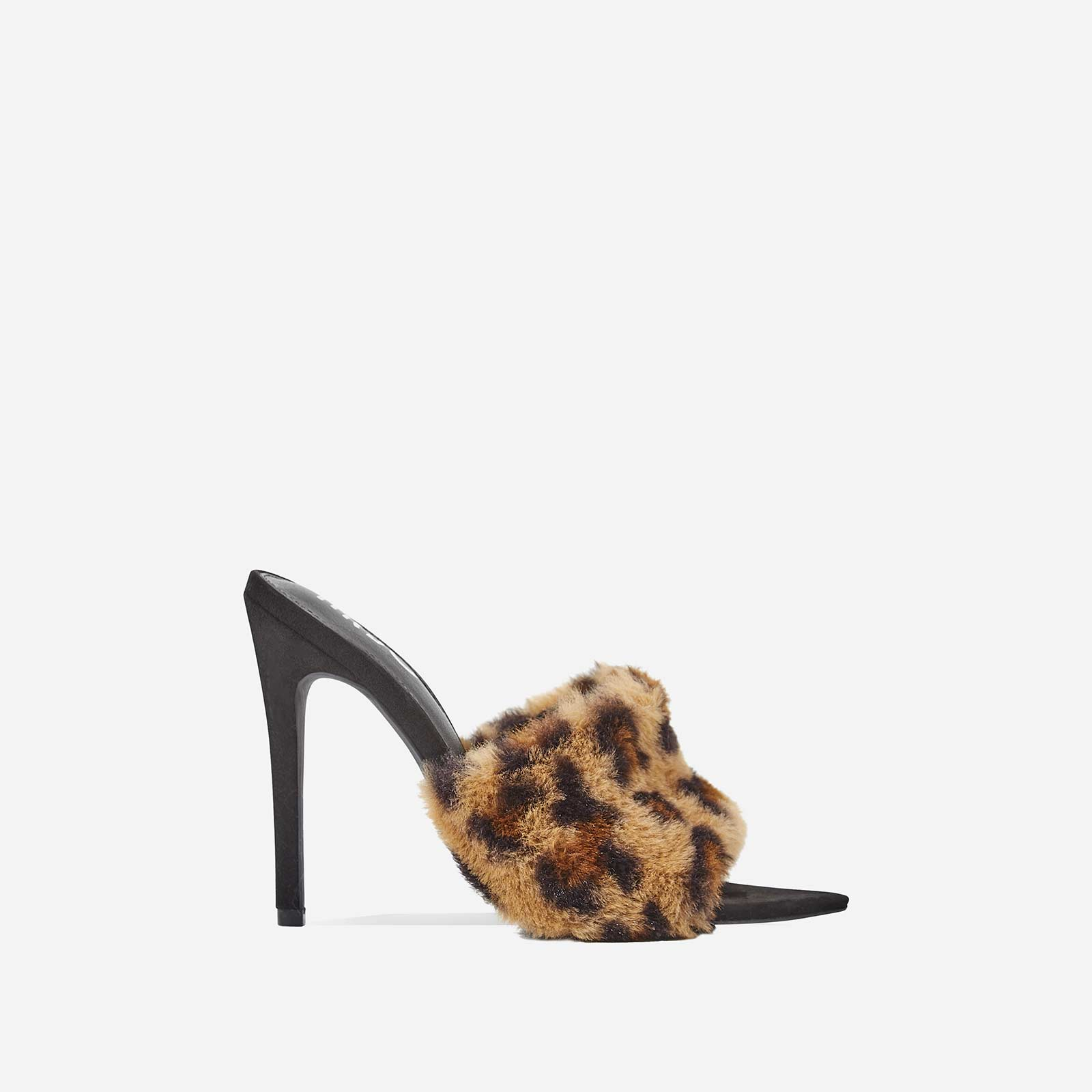 Savage Tan Leopard Print Faux Fur Heel Mule In Black Faux Suede