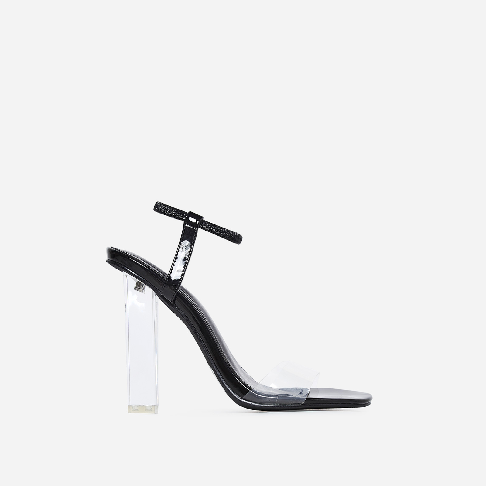 Scorpio Barely There Perspex Block Heel In Black Patent