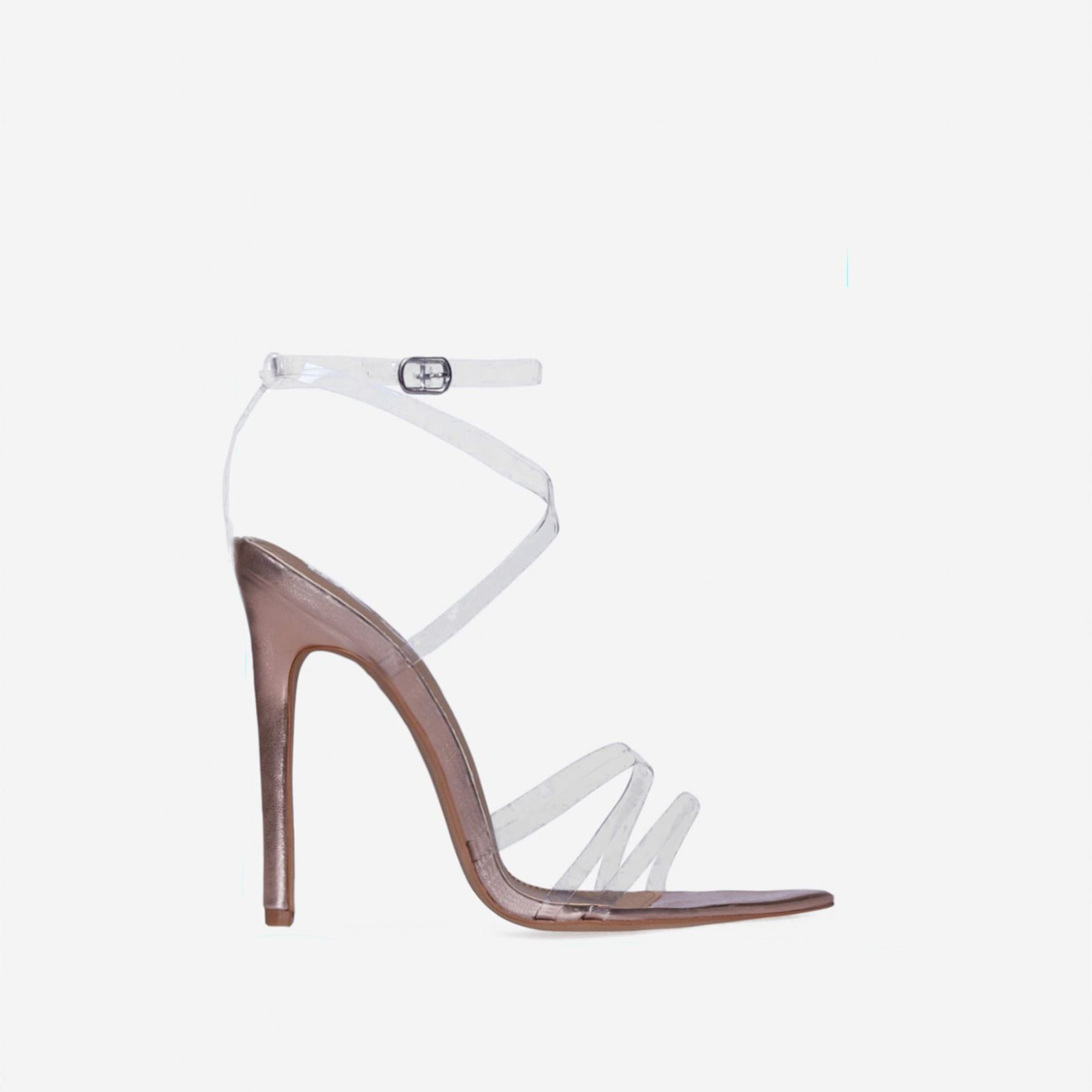 Tiffany Pointed Perspex Barely There Heel In Rose Gold Faux Leather