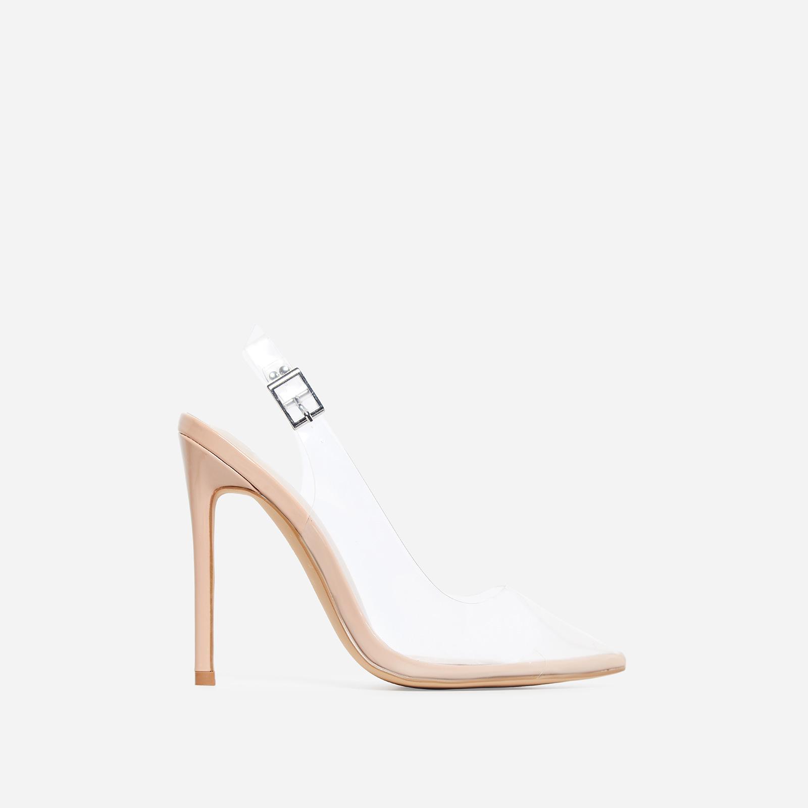 Seamless Perspex Heel In Nude Patent