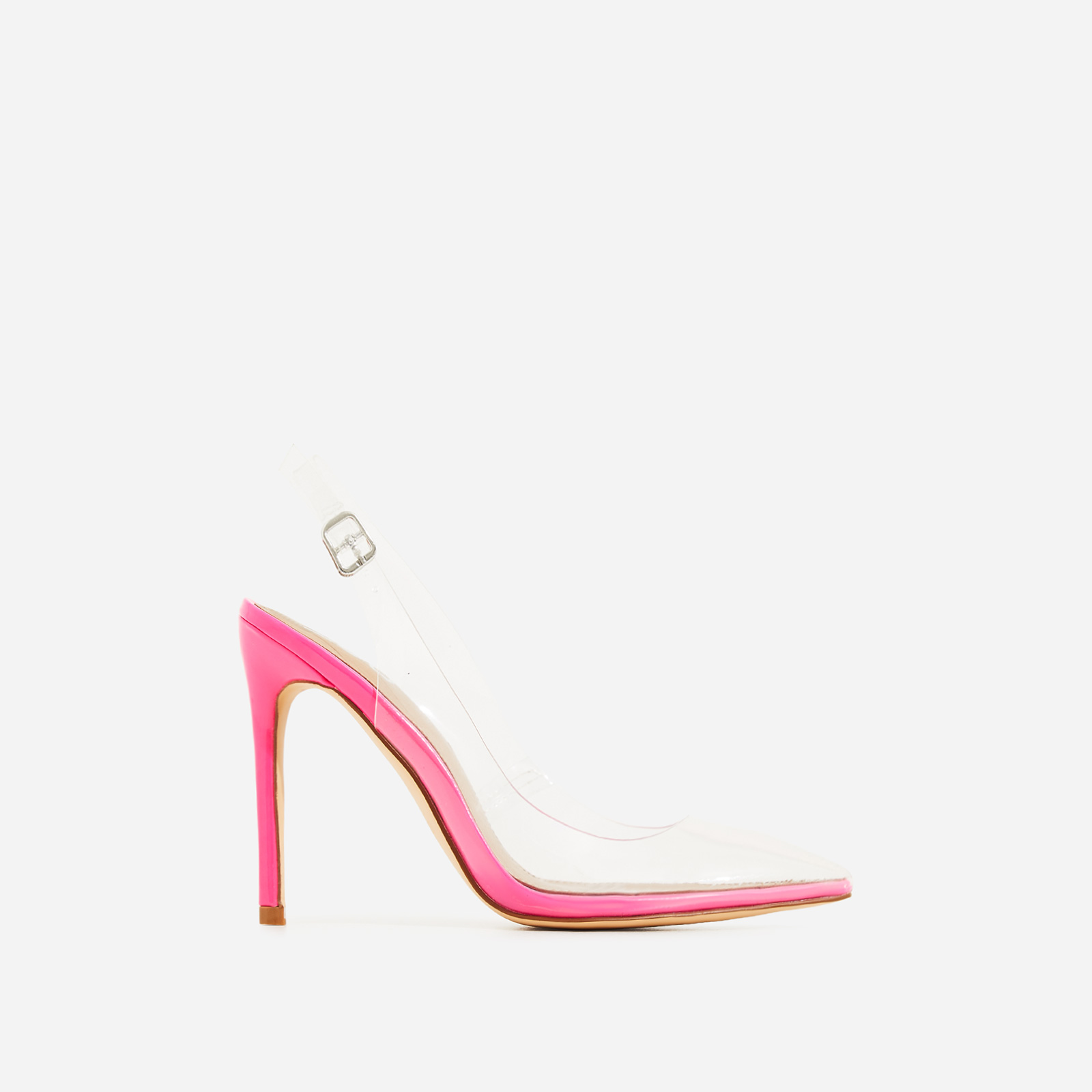 Seamless Perspex Heel In Neon Pink Patent