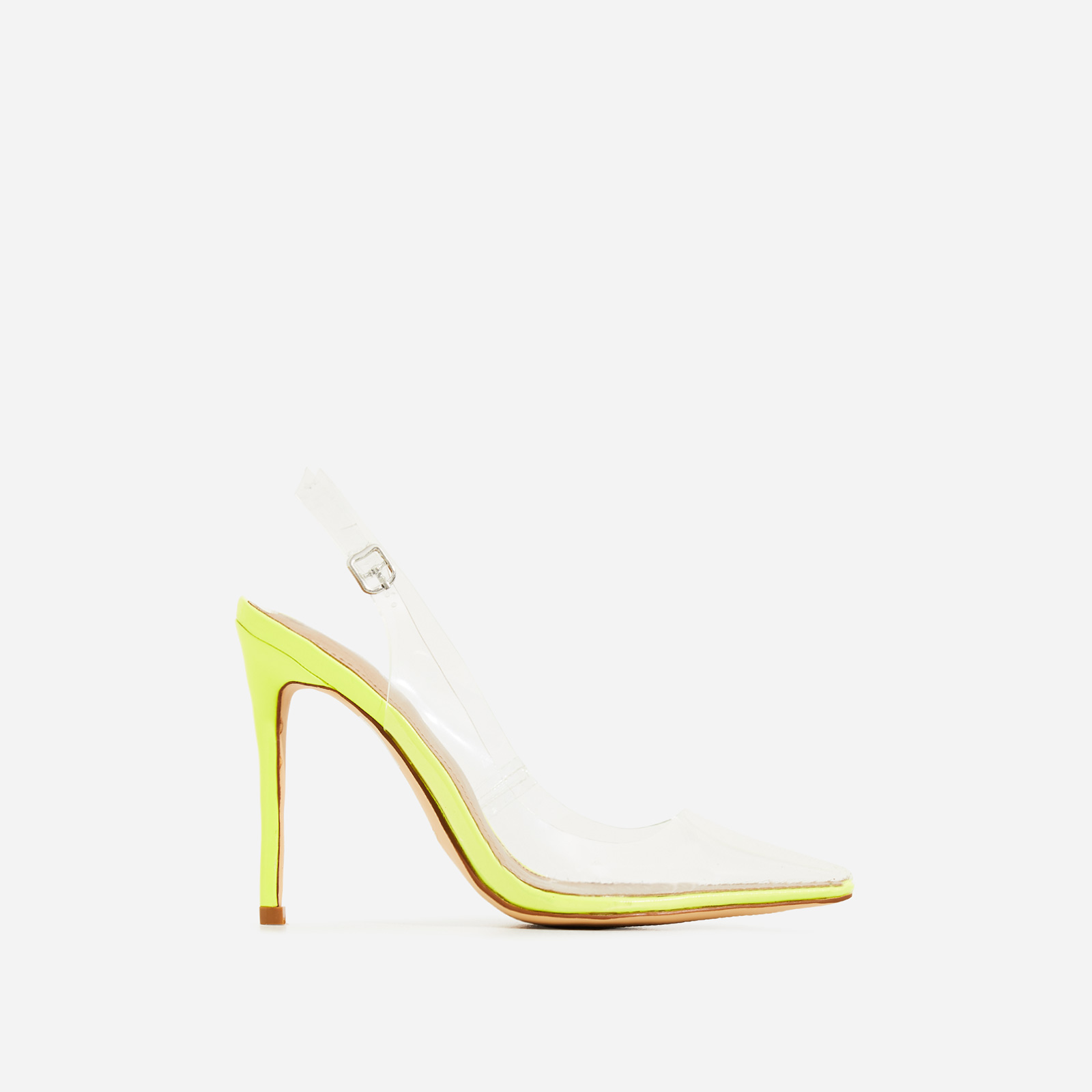 Seamless Perspex Heel In Neon Yellow Patent