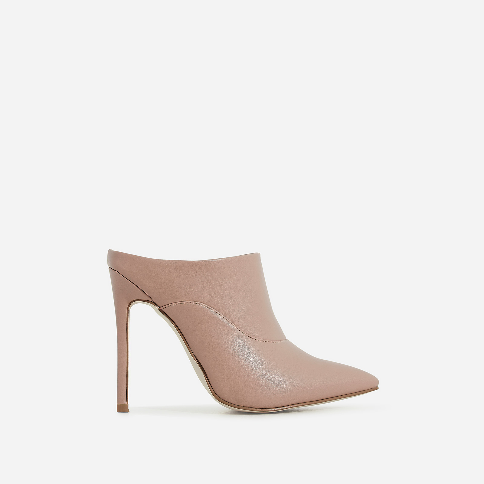 Sheena Pointed Toe Heel Mule In Nude Faux Leather