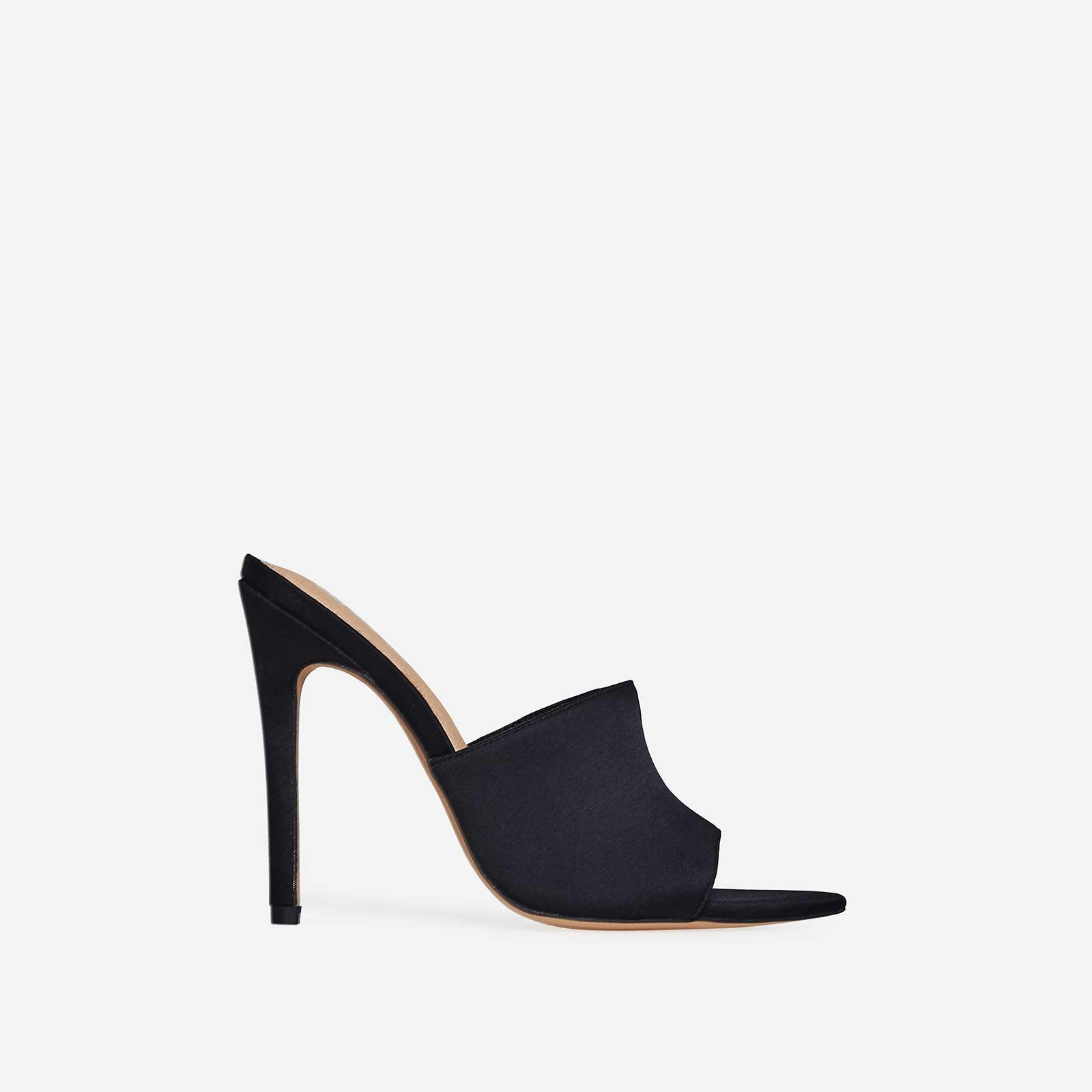 Briana Pointed Peep Toe Mule In Black Lycra