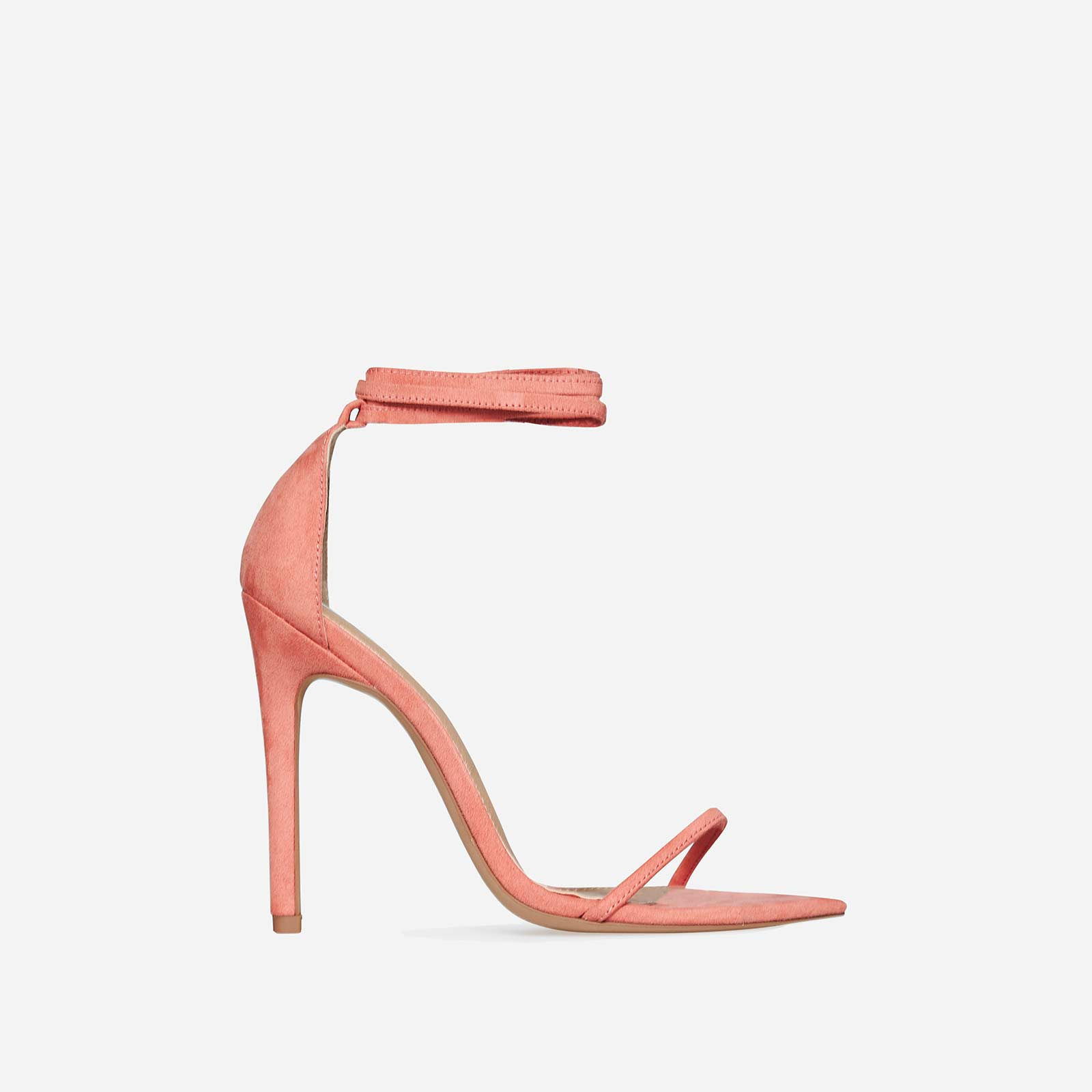 Ralley Lace Up Pointed Barely There Heel In Coral Faux Suede