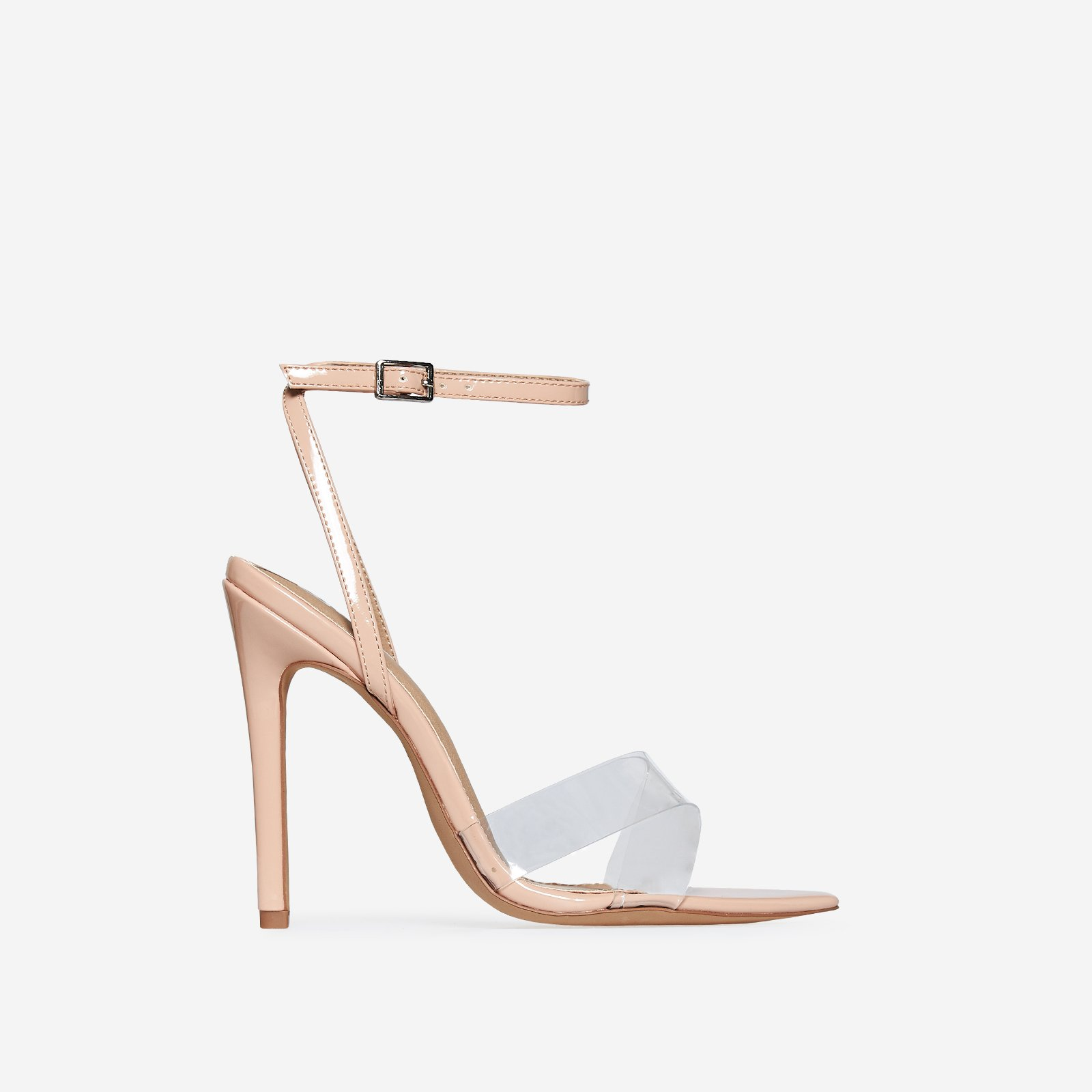 Celia Perspex Pointed Toe Barely There Heel In Nude Patent