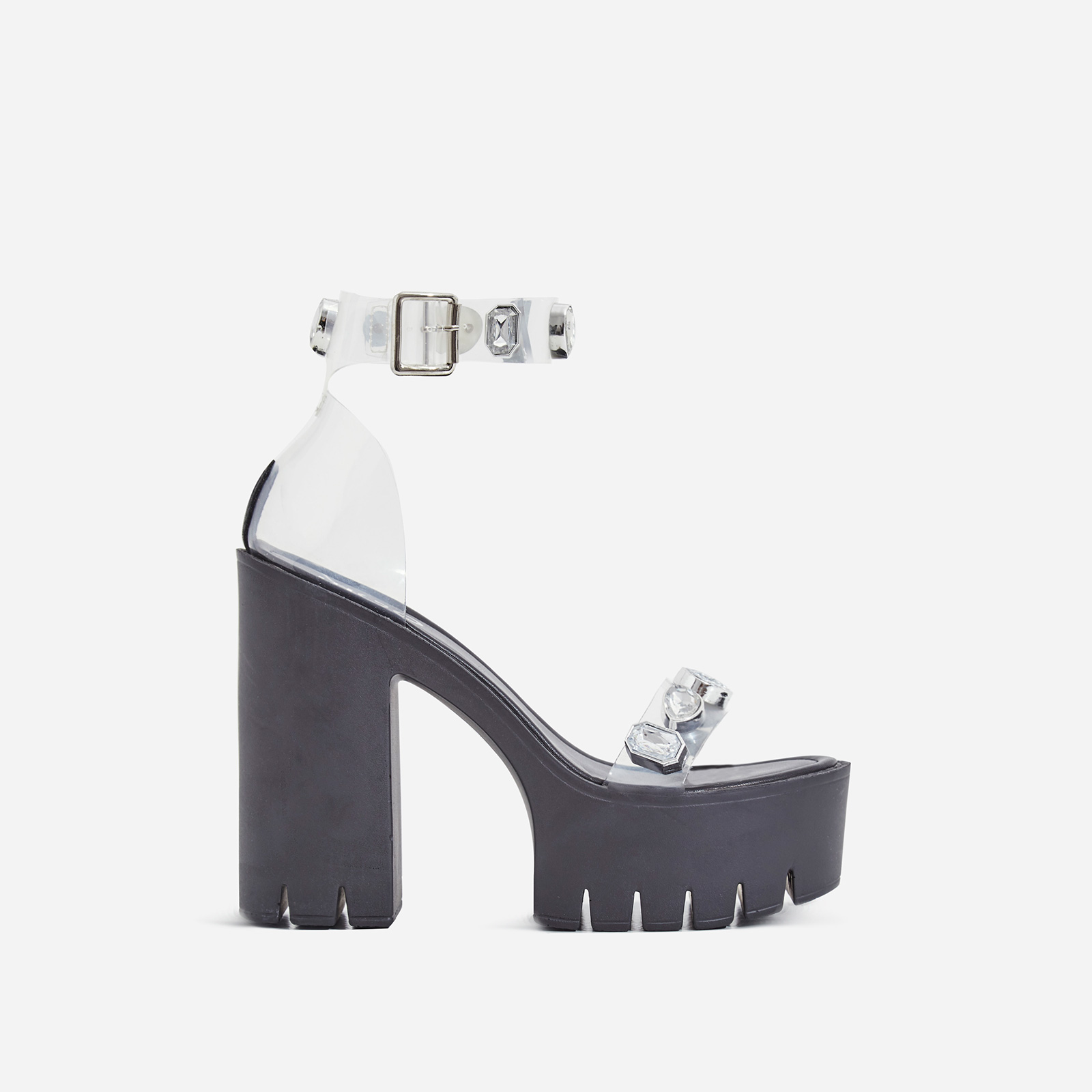 Shook Jewel Embellished Perspex Platform Cleated Sole Block Heel In Black