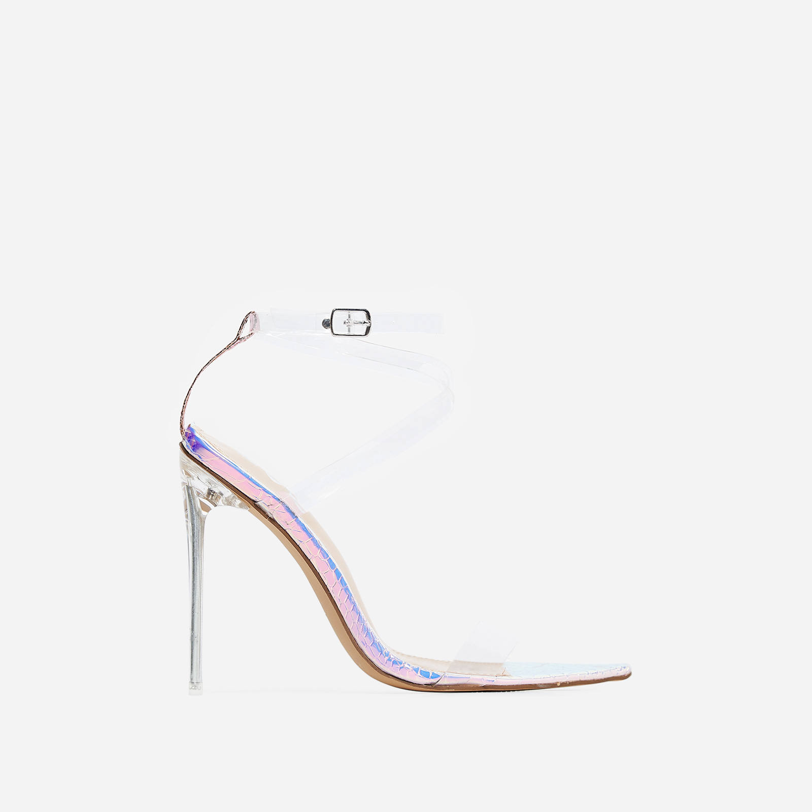 Skin Barely There Perspex Heel In Silver Snake Print Faux Leather