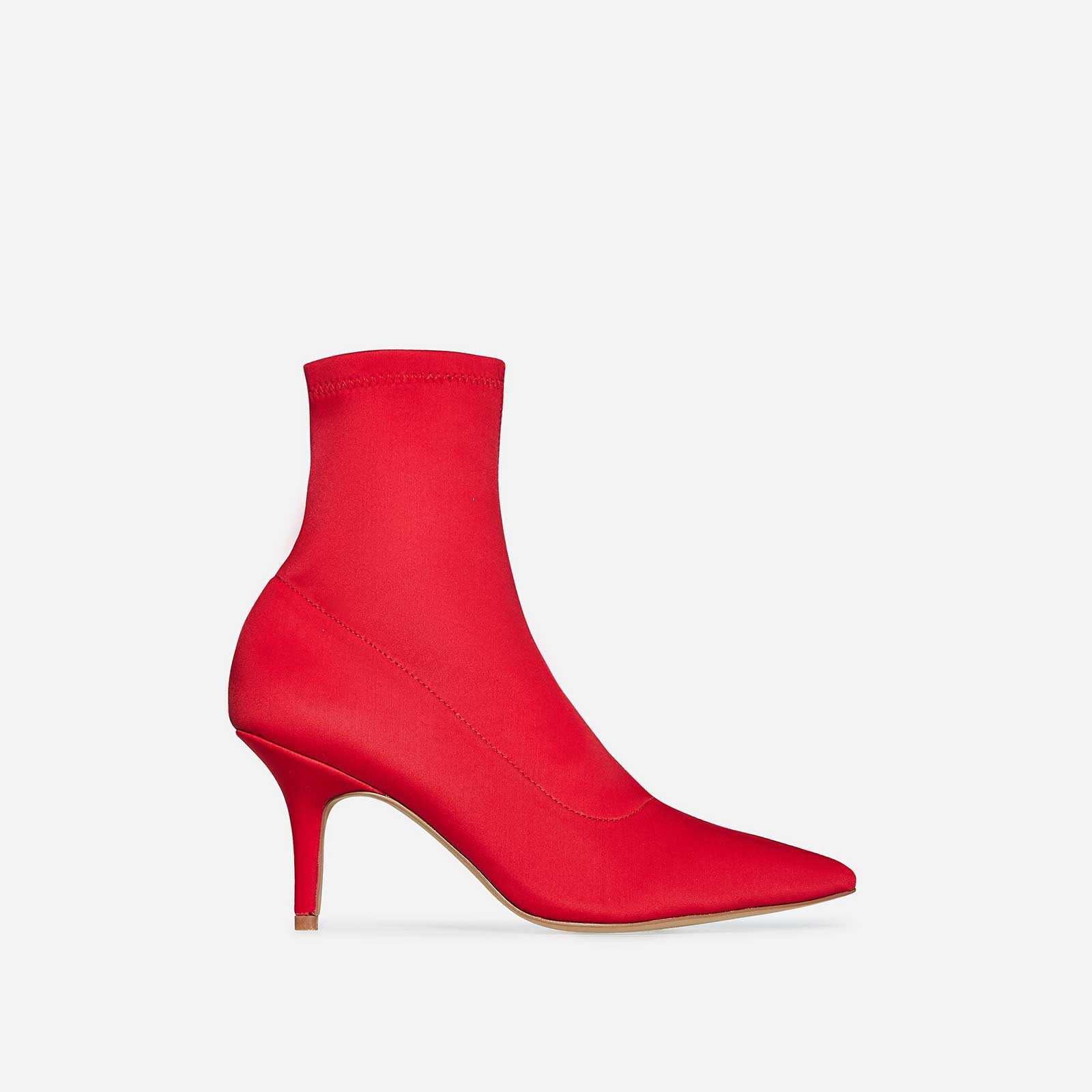 Skye Kitten Heel Sock Boot In Red Lycra