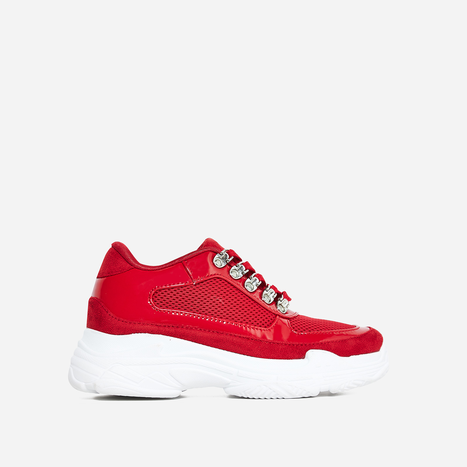 Cass Mesh Detail Trainer In Red Faux Suede And Patent