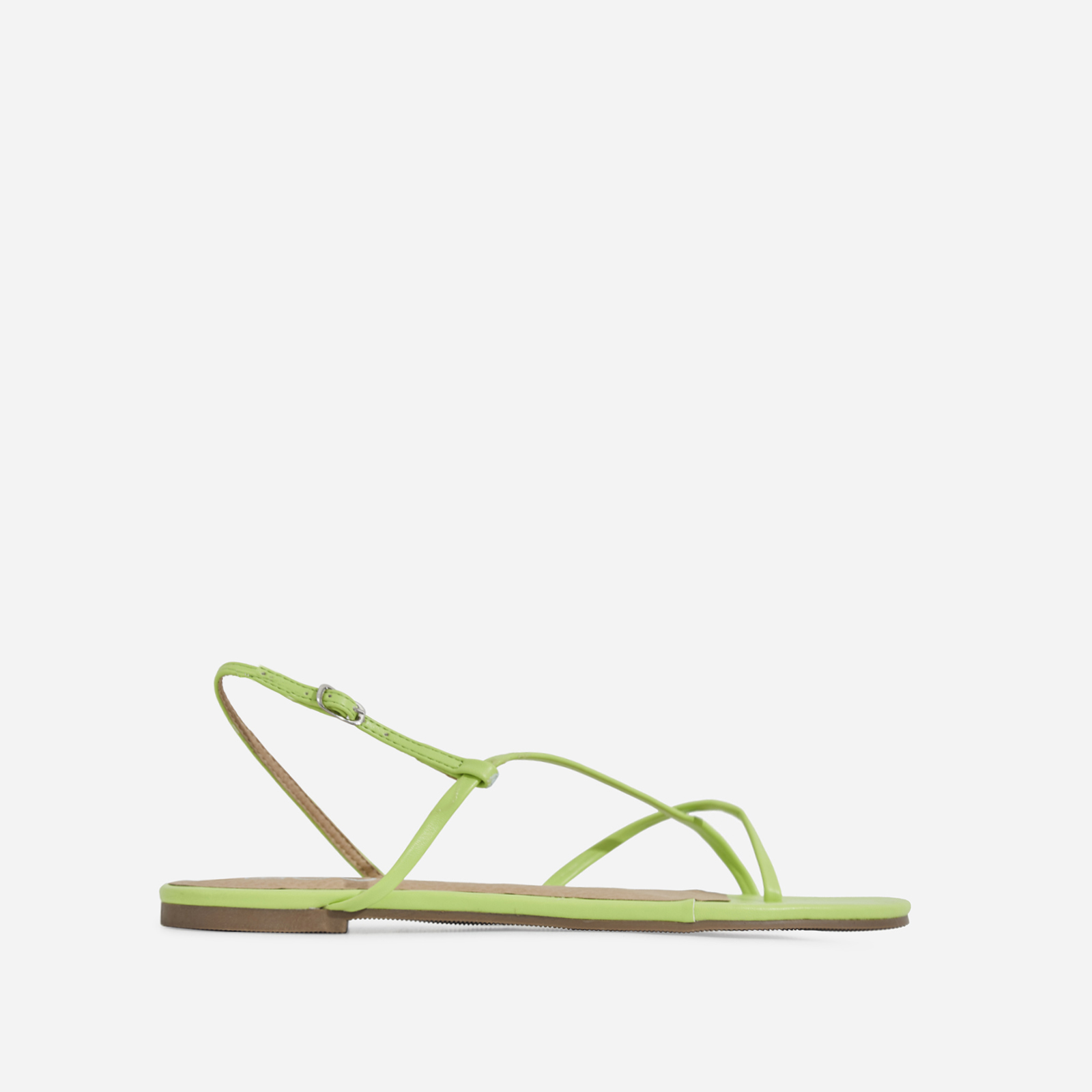 Sofie Toe Strap Sandal In Lime Green Faux Leather