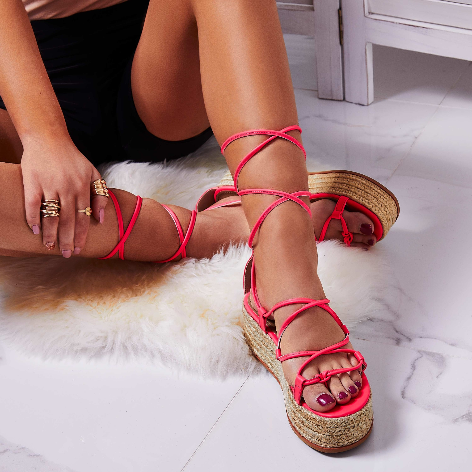 Sophina Lace Up Espadrille Flatform Sandal In Neon Pink Faux Leather